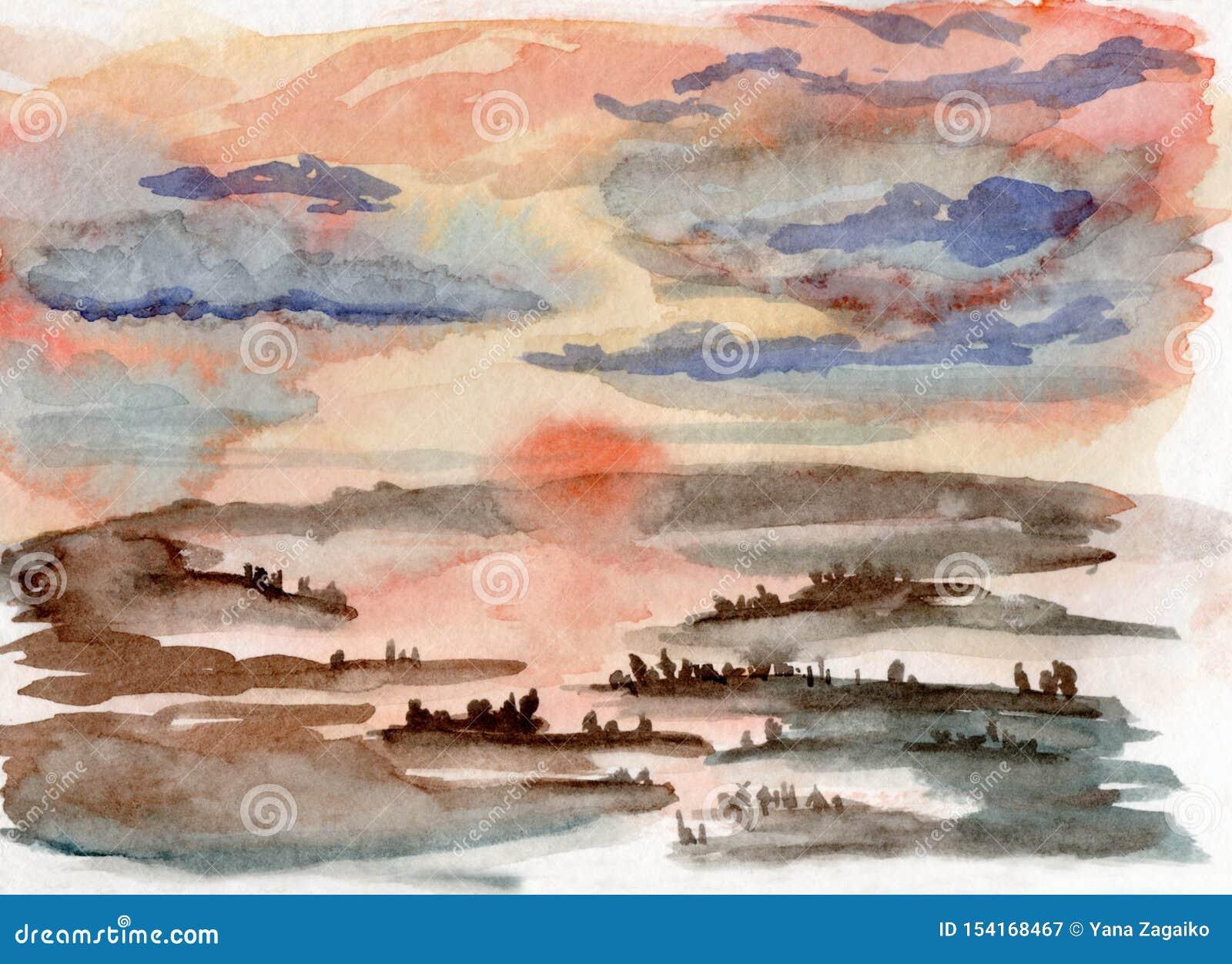 Vattenfärgillustration av en dimmig solnedgång i en skog med flodreflexion