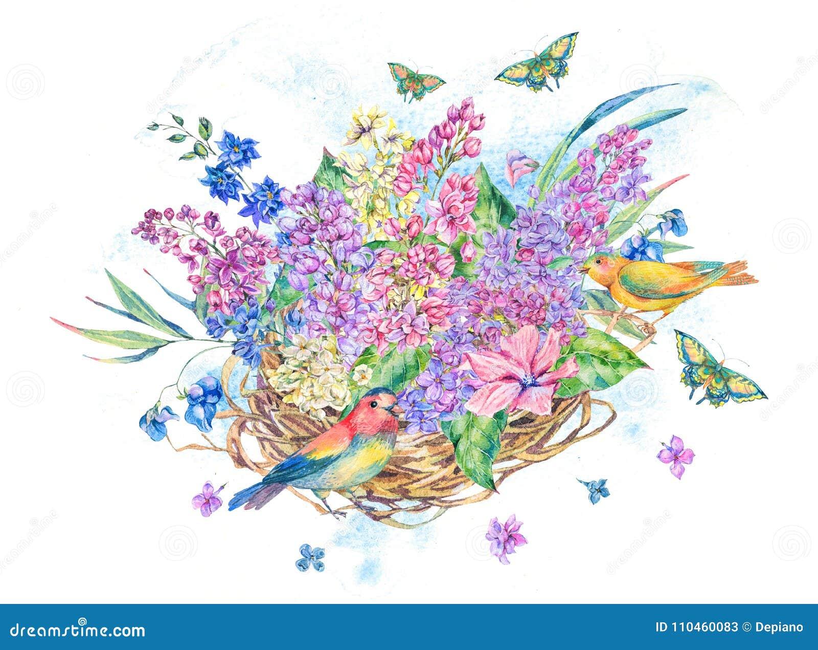 Vattenfärgillustration av redet och blommor för fågel` s