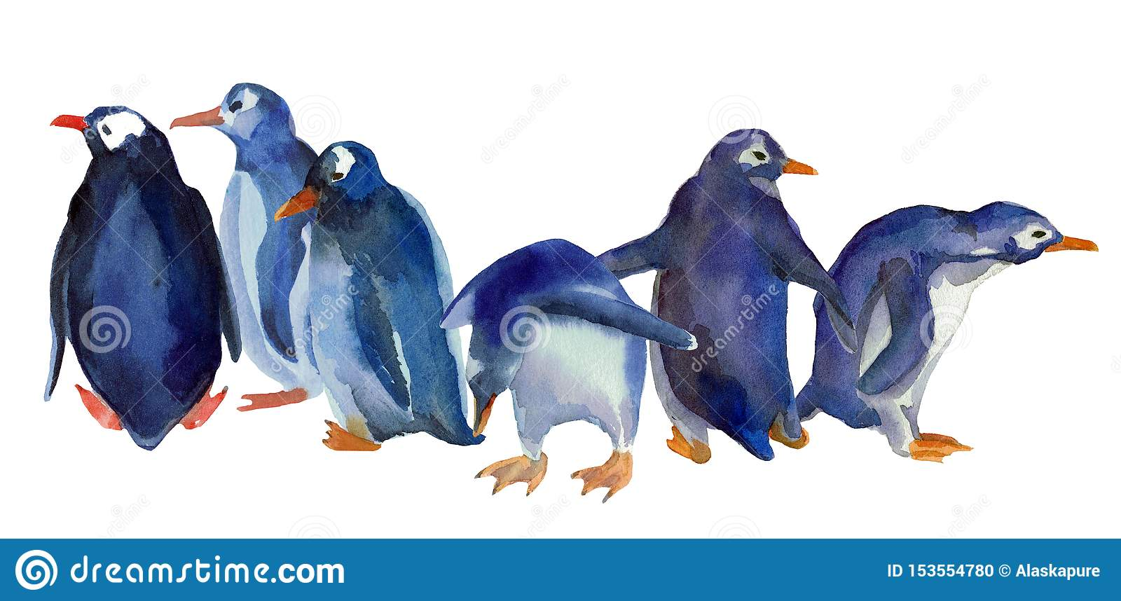 Vattenfärgilustration av blåa pingvin för familjgrupp