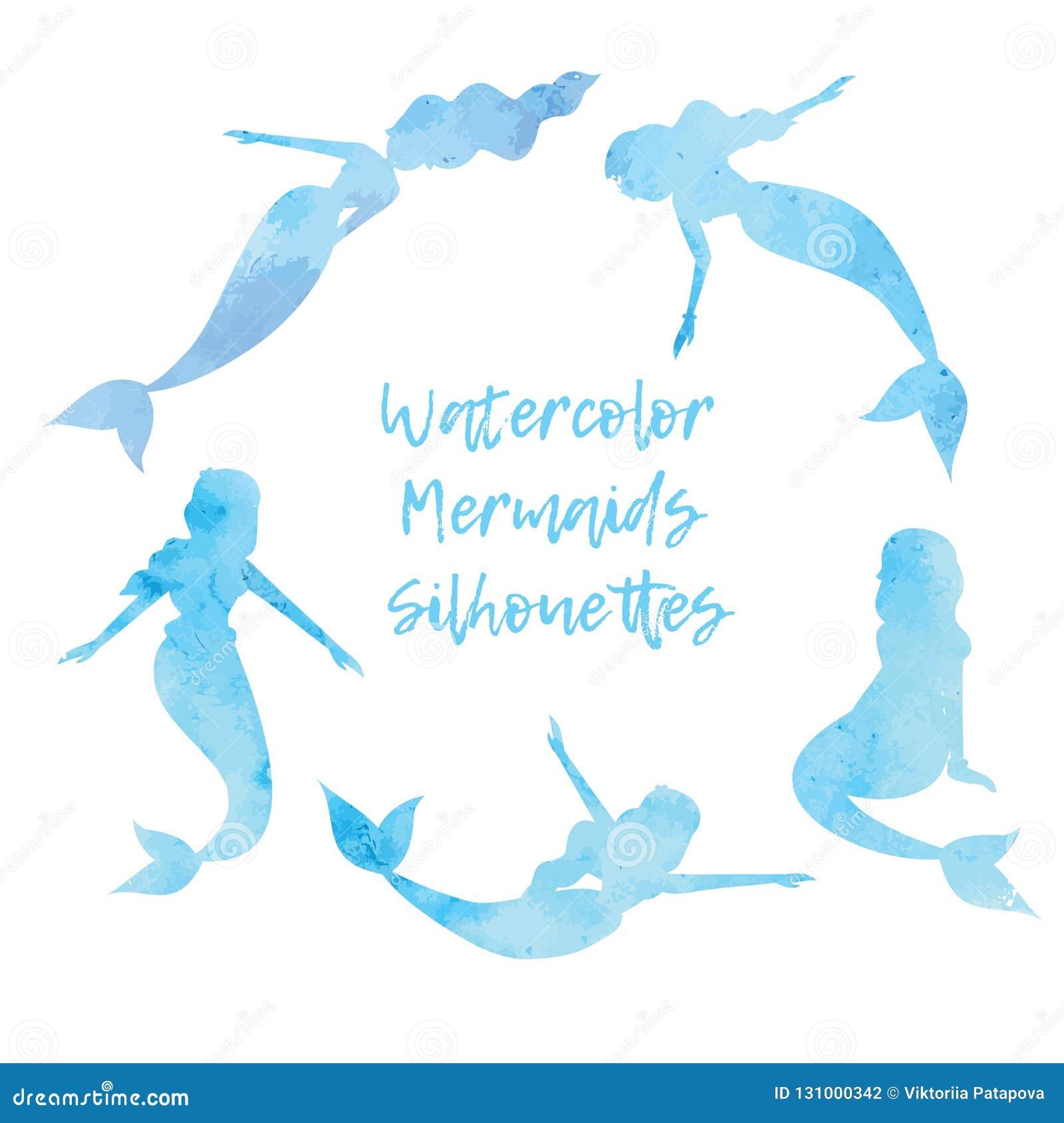 Vattenfärgkonturer av sjöjungfruuppsättningen Vektorillustration EPS10