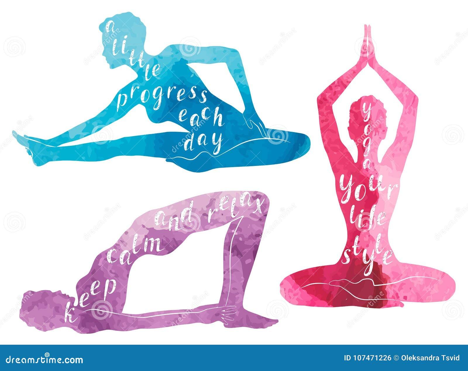 Vattenfärgkonturer av yoga, avkoppling och meditationen för kvinna praktiserande