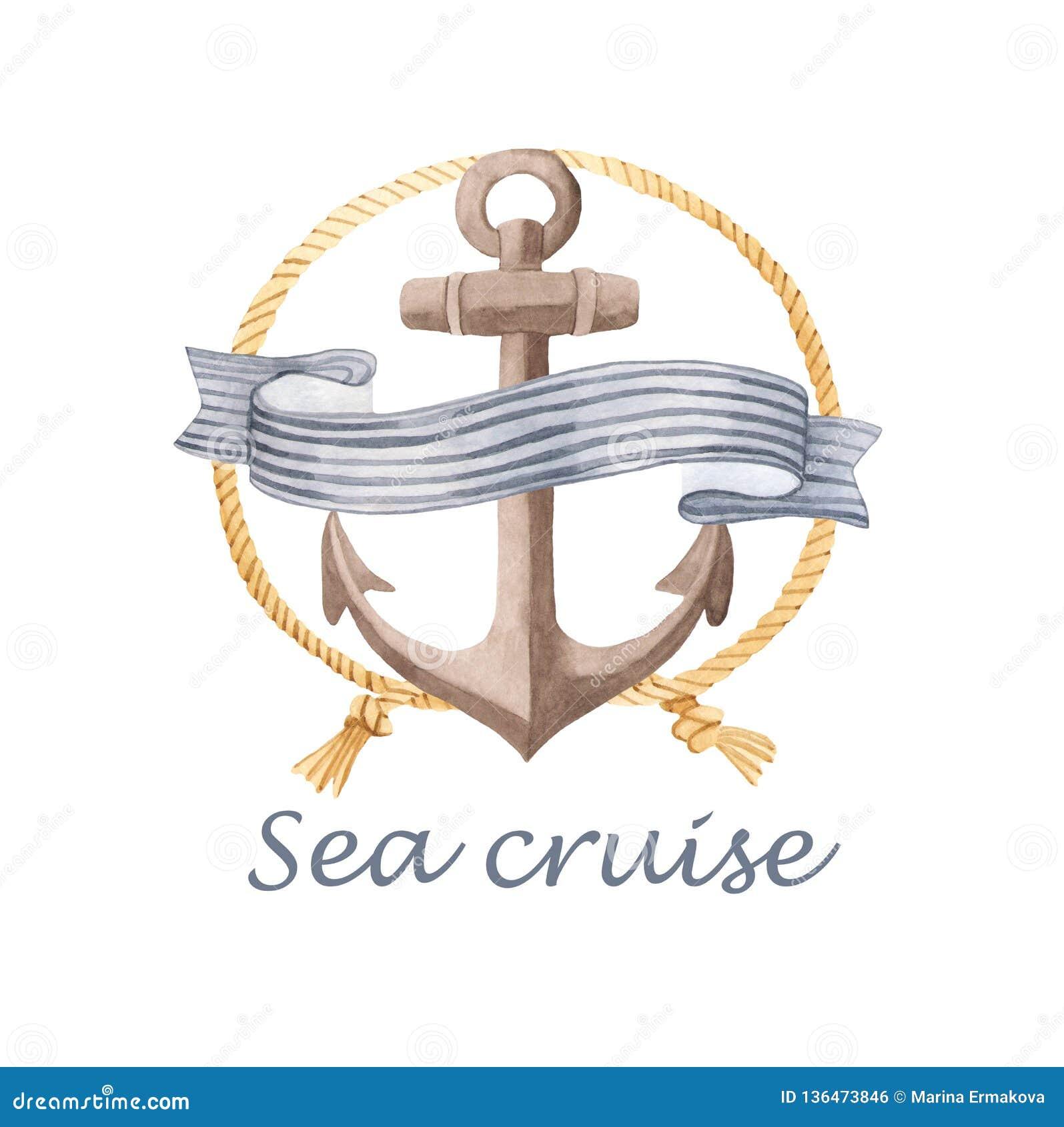 Vattenfärgkort med ankaret, rep, yacht