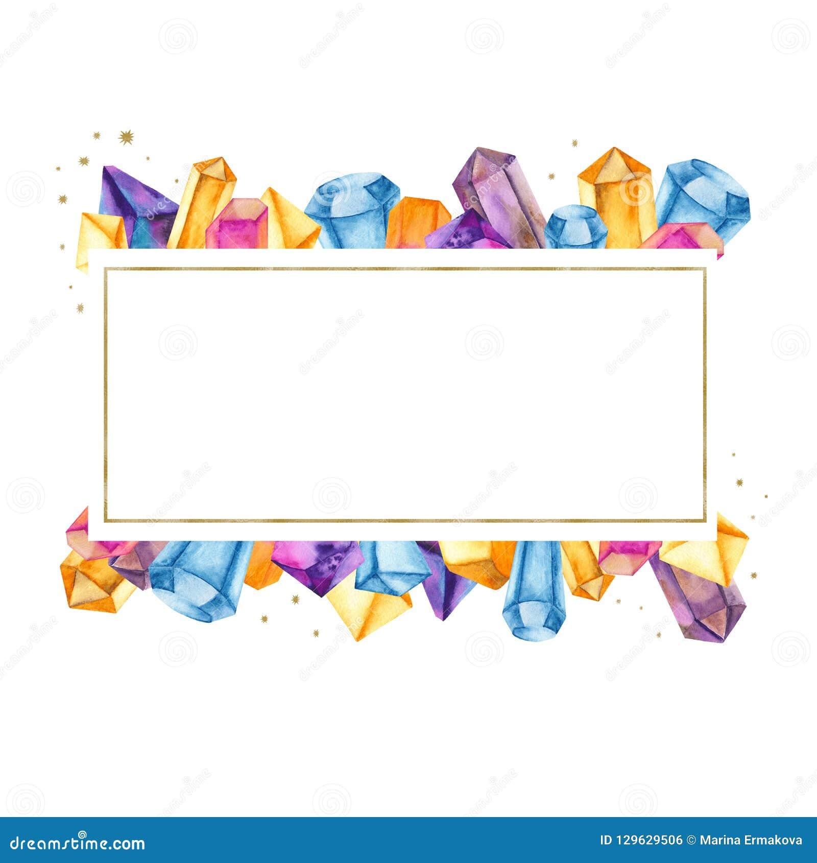 Vattenfärgkristaller i en guld- ram, baner