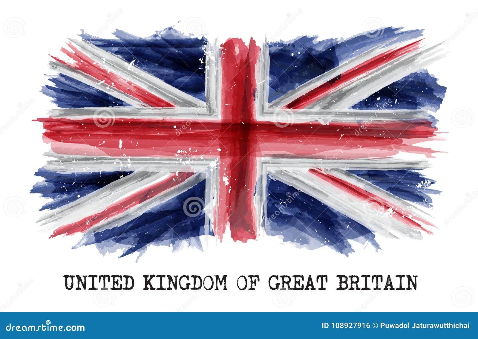 Vattenfärgmålningflagga av Förenade kungariket av Storbritannien UK vektor