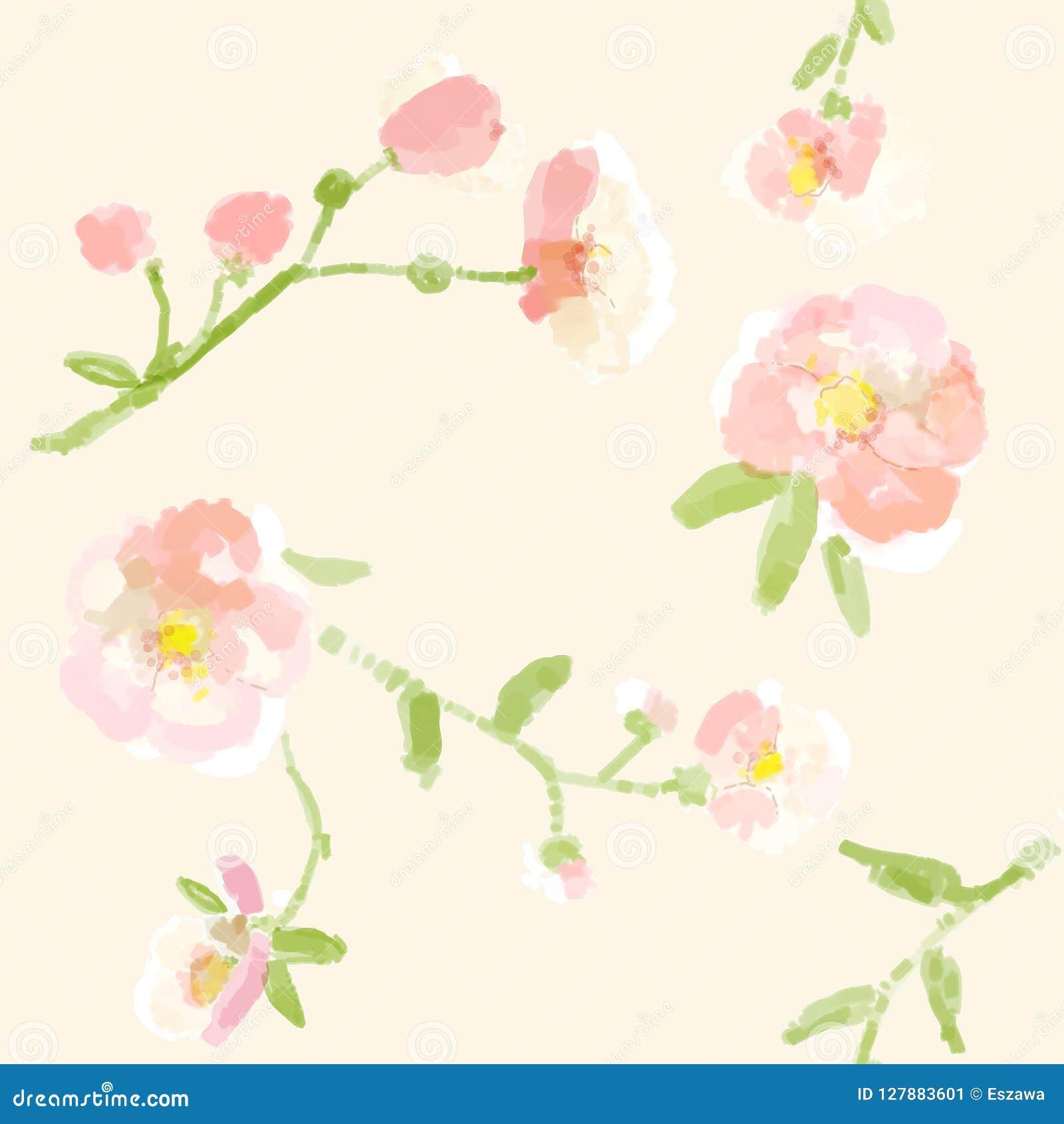 Vattenfärgmålningtyg, repeatable textilmodell