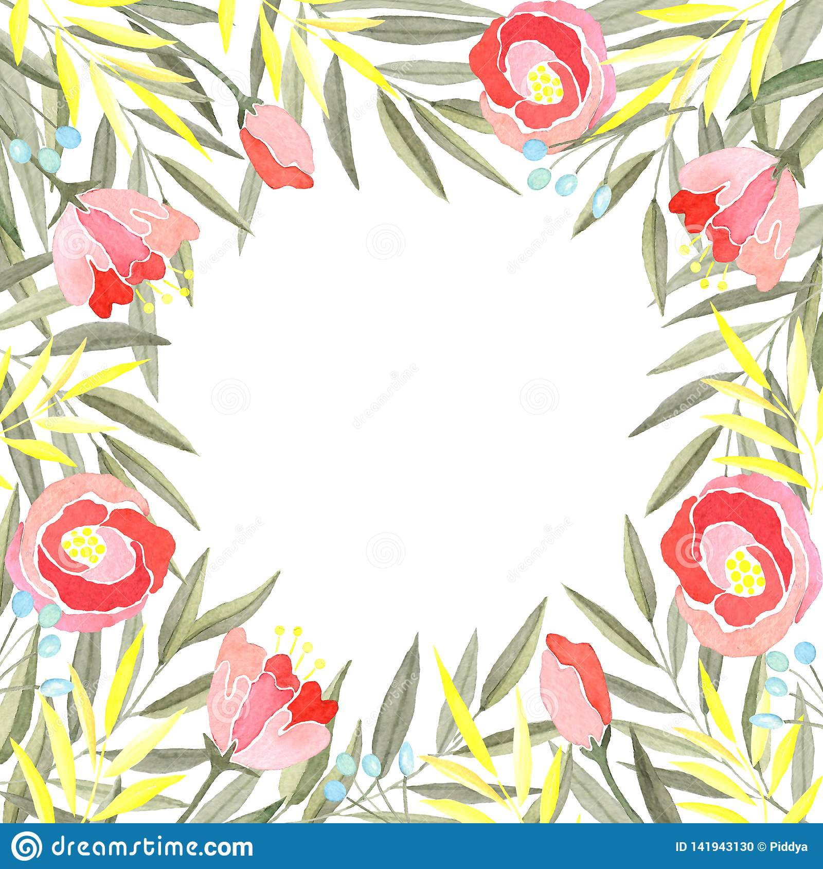 Vattenfärgram av filialer med gröna och gula sidor, blommor och bär