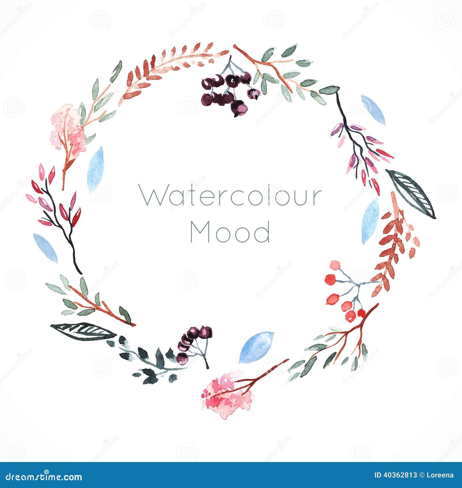 Vattenfärgram med bär och blommor