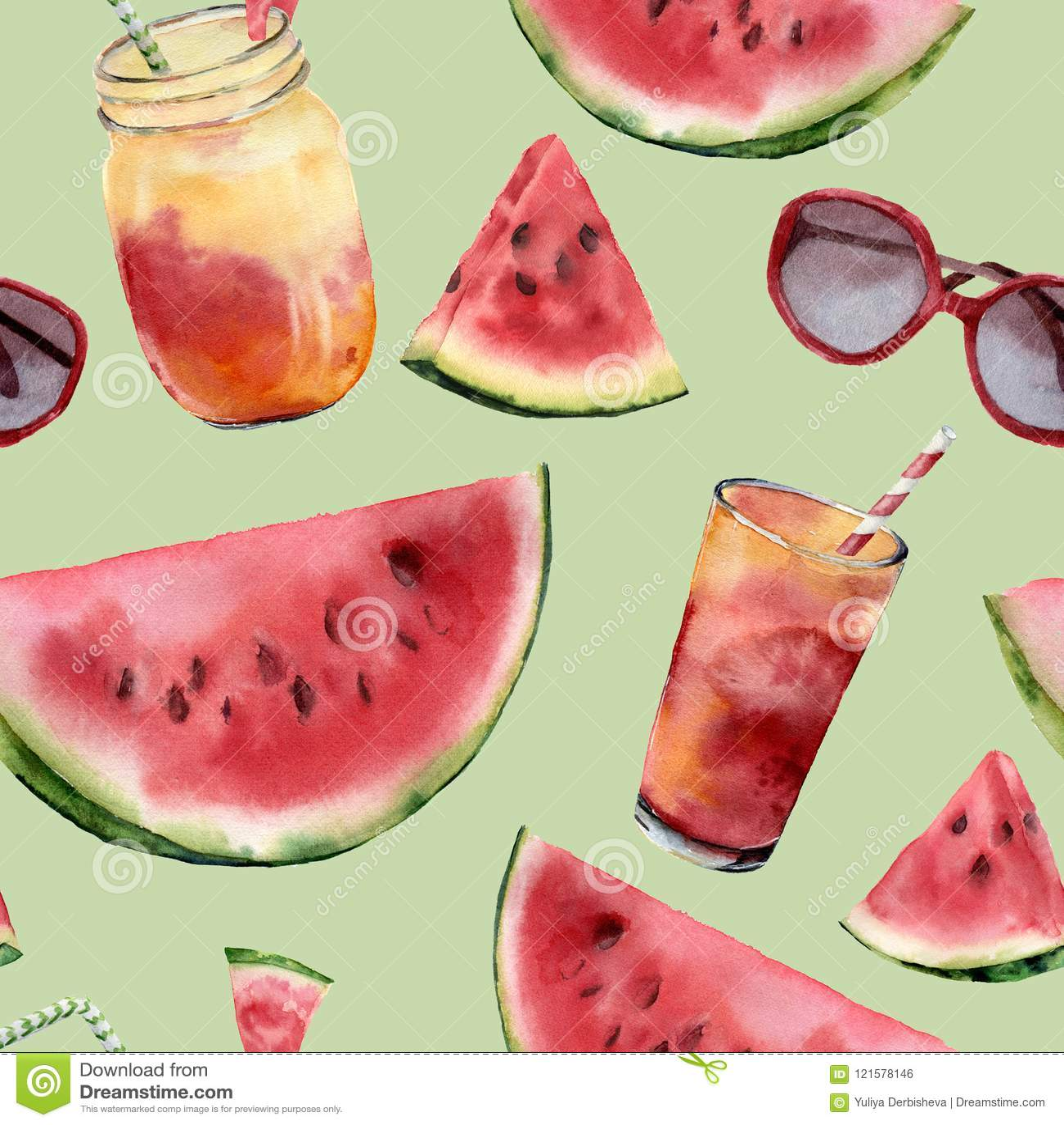 Vattenfärgvattenmelon, sunglass och stor sömlös modell för coctail Hand målad vattenmelonskiva med fruktcoctailen