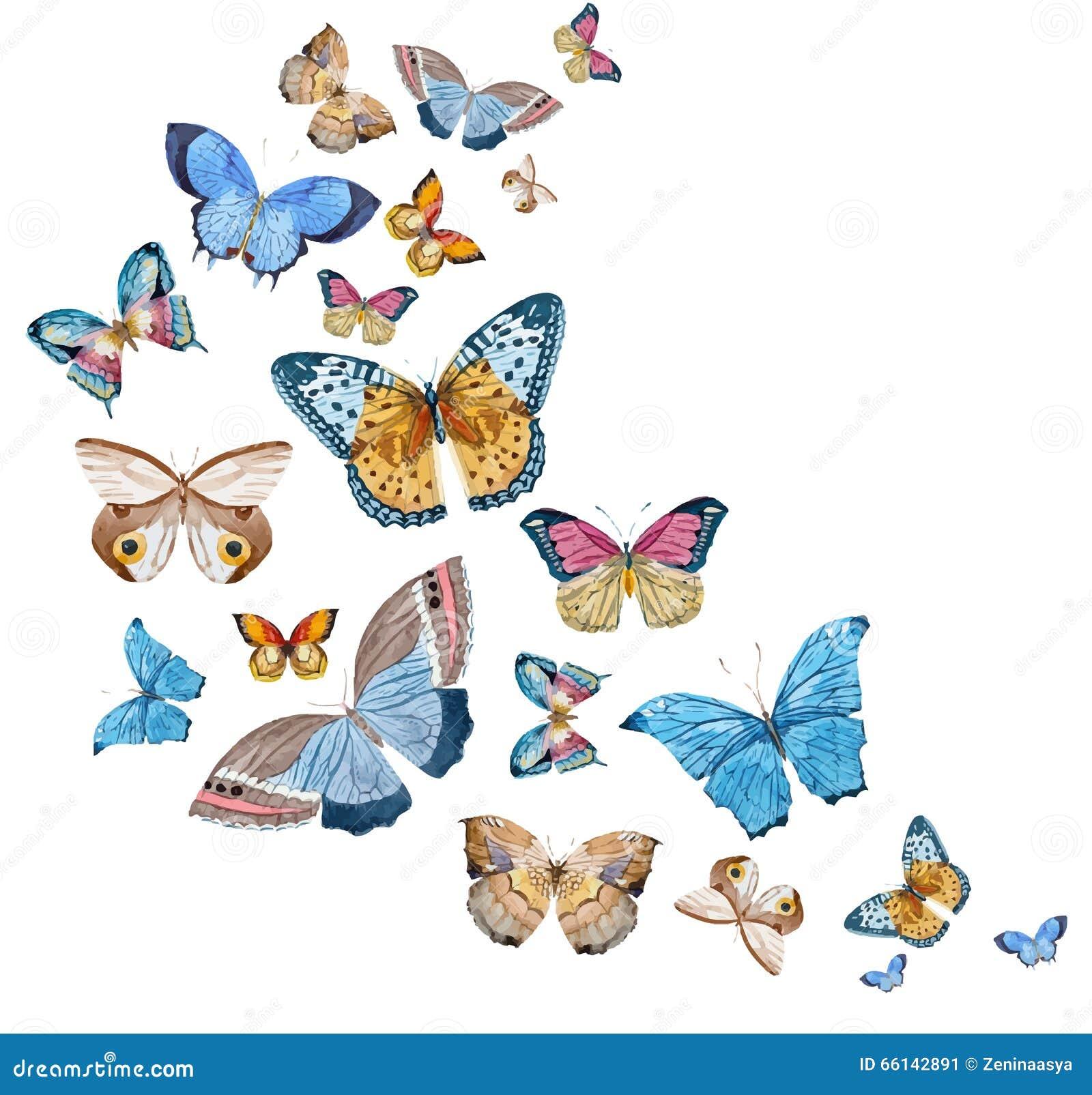 Vattenfärgvektorfjärilar