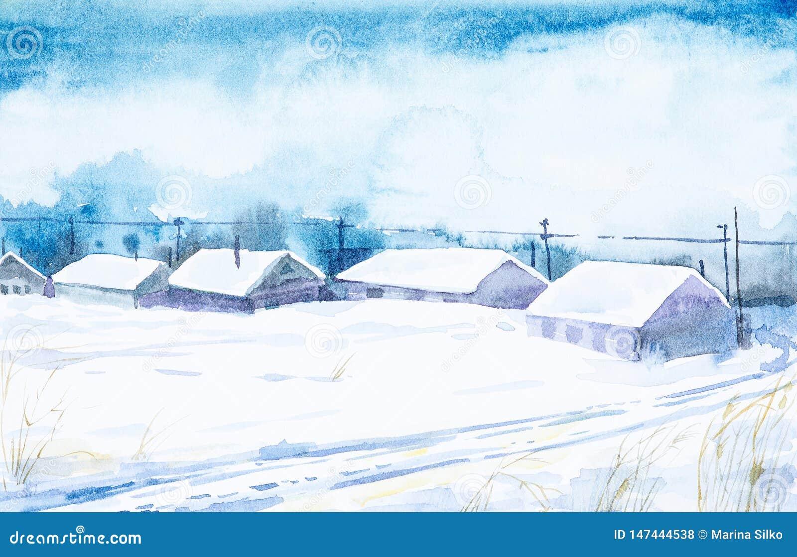 Vattenf?rg f?r park f?r h?stbroliggande liten Djupfryst dag för vinter i den ryska byn