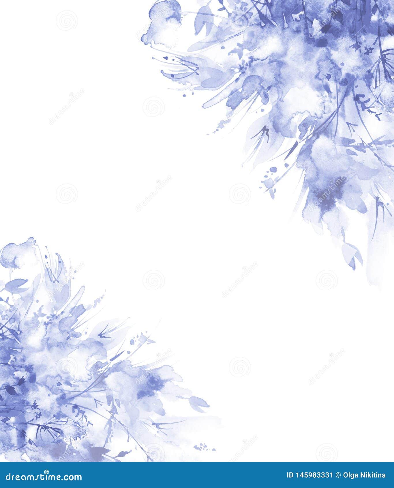 Vattenf?rgbukett av blommor, h?rlig abstrakt f?rgst?nk av m?larf?rg, modeillustration Orkid?blommor, vallmo, bl?klint