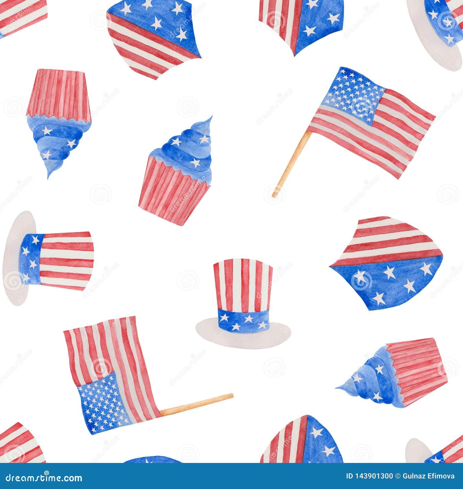 Vattenf?rgillustration 4th av den juli sj?lvst?ndighetsdagen i USA