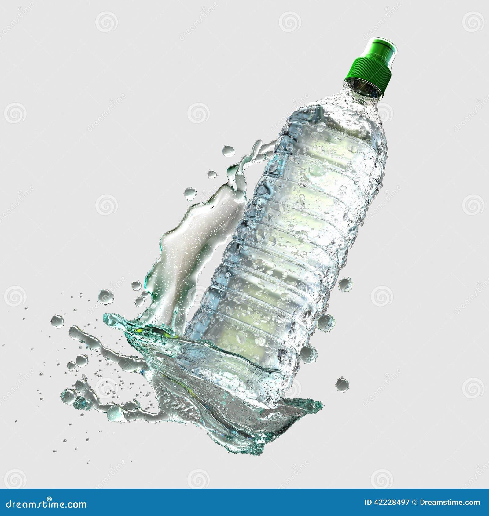 Vattenflaska med färgstänk