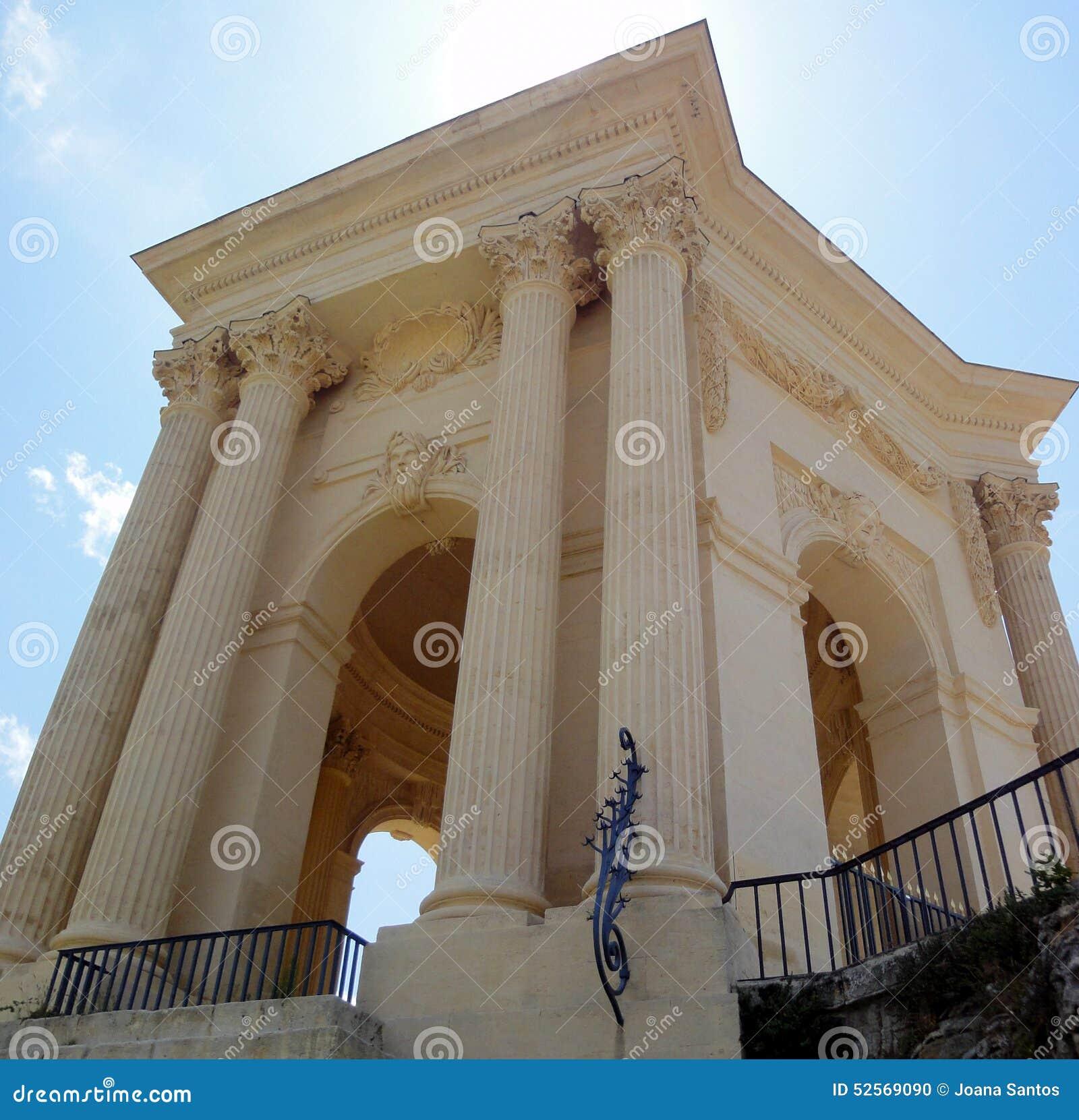 Vattentorn i promenad du Peyrou, Montpellier, Frankrike