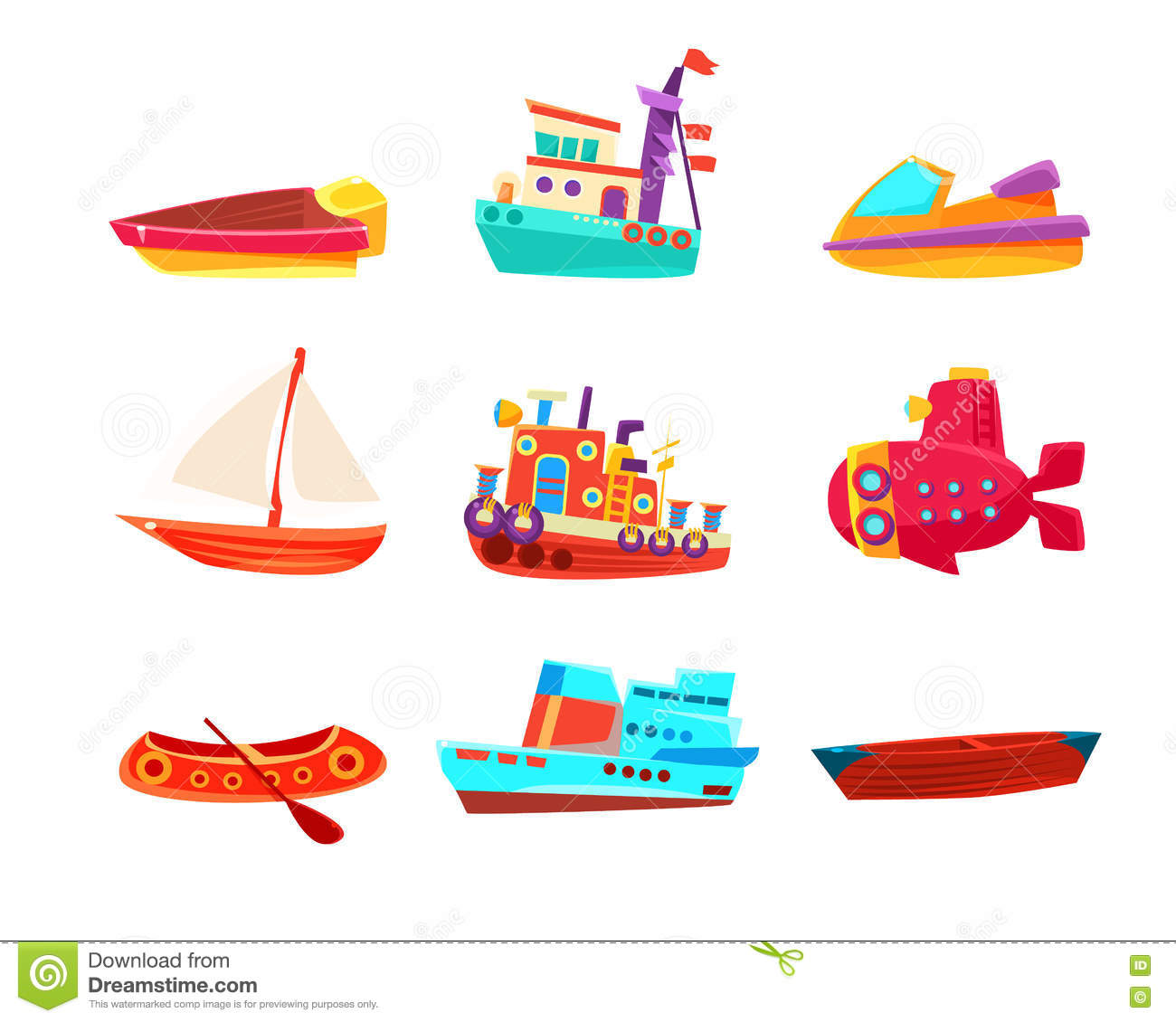 Vattentransport Toy Boats Icon Collection