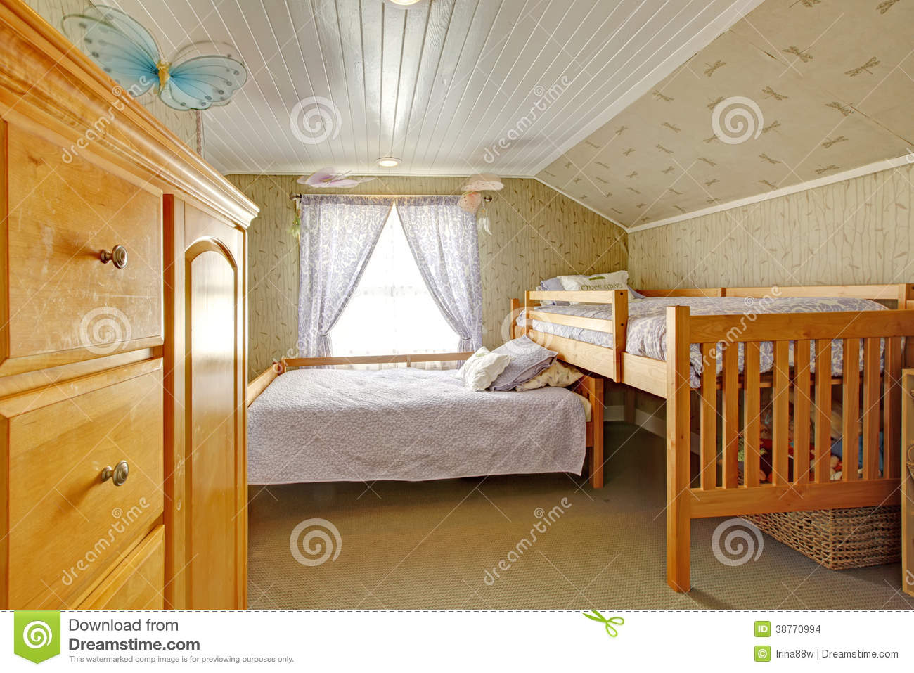 Vaulted Ceiling Bedroom With Low And High Beds Stock ...