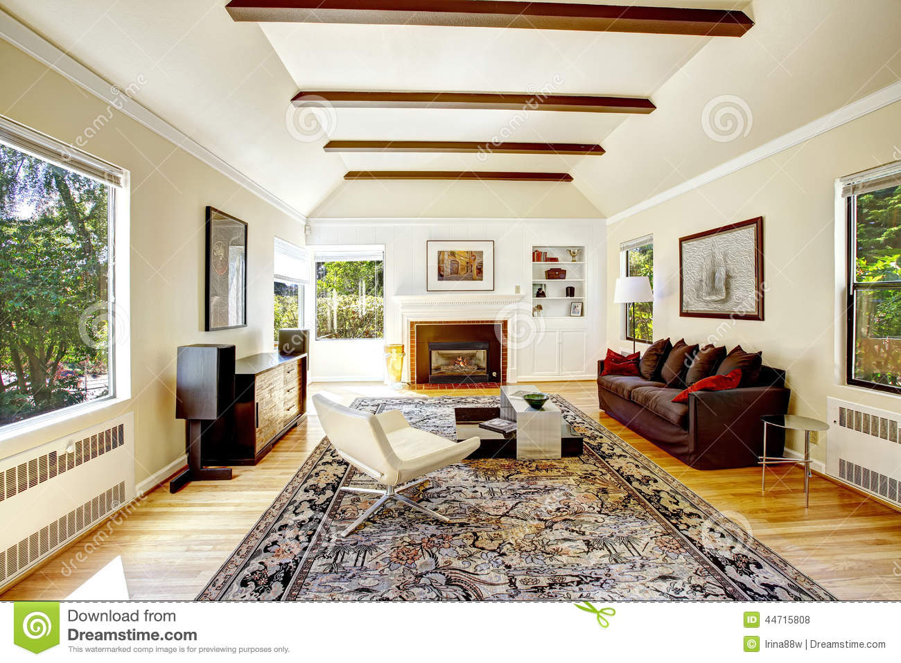 Open Kitchen Living Room Floor Plans Vaulted Ceiling With Brown Beams In Living Room Stock