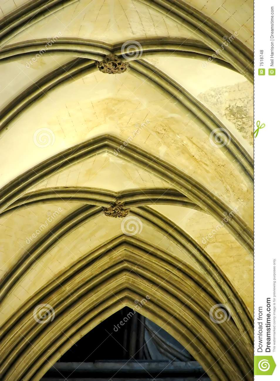 Vaulted Ceiling In A Gothic Cathedral Royalty Free Stock