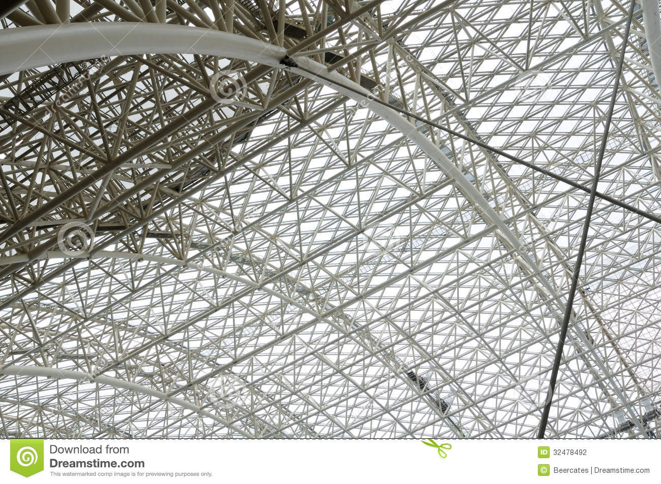 Vaulted Roof Trusses Stock Photo Image Of Metallic