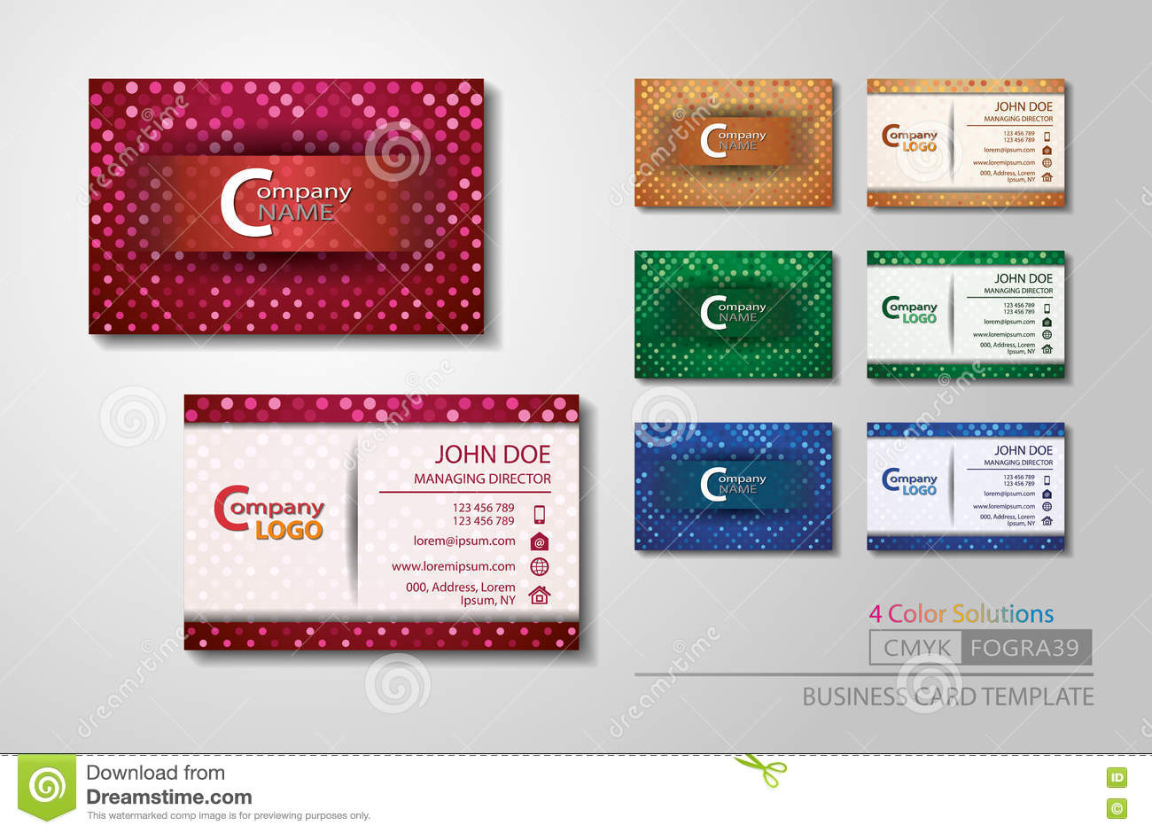 Vcard business card set 4 color stock vector illustration of cmyk download comp colourmoves