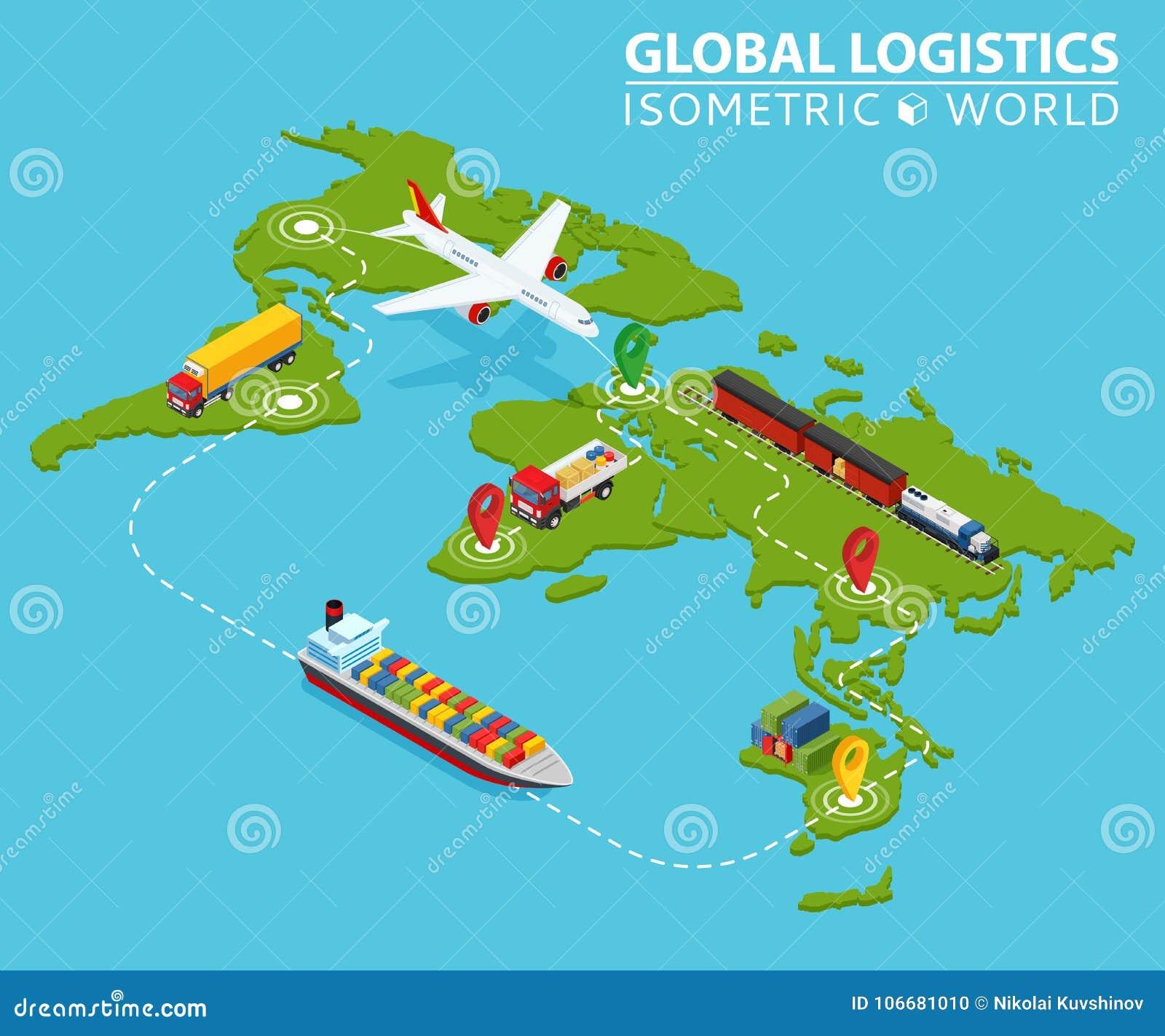 Veículo isométrico logístico global Infographic Caminhão Van Logistics Service da carga do navio Corrente da exportação da import