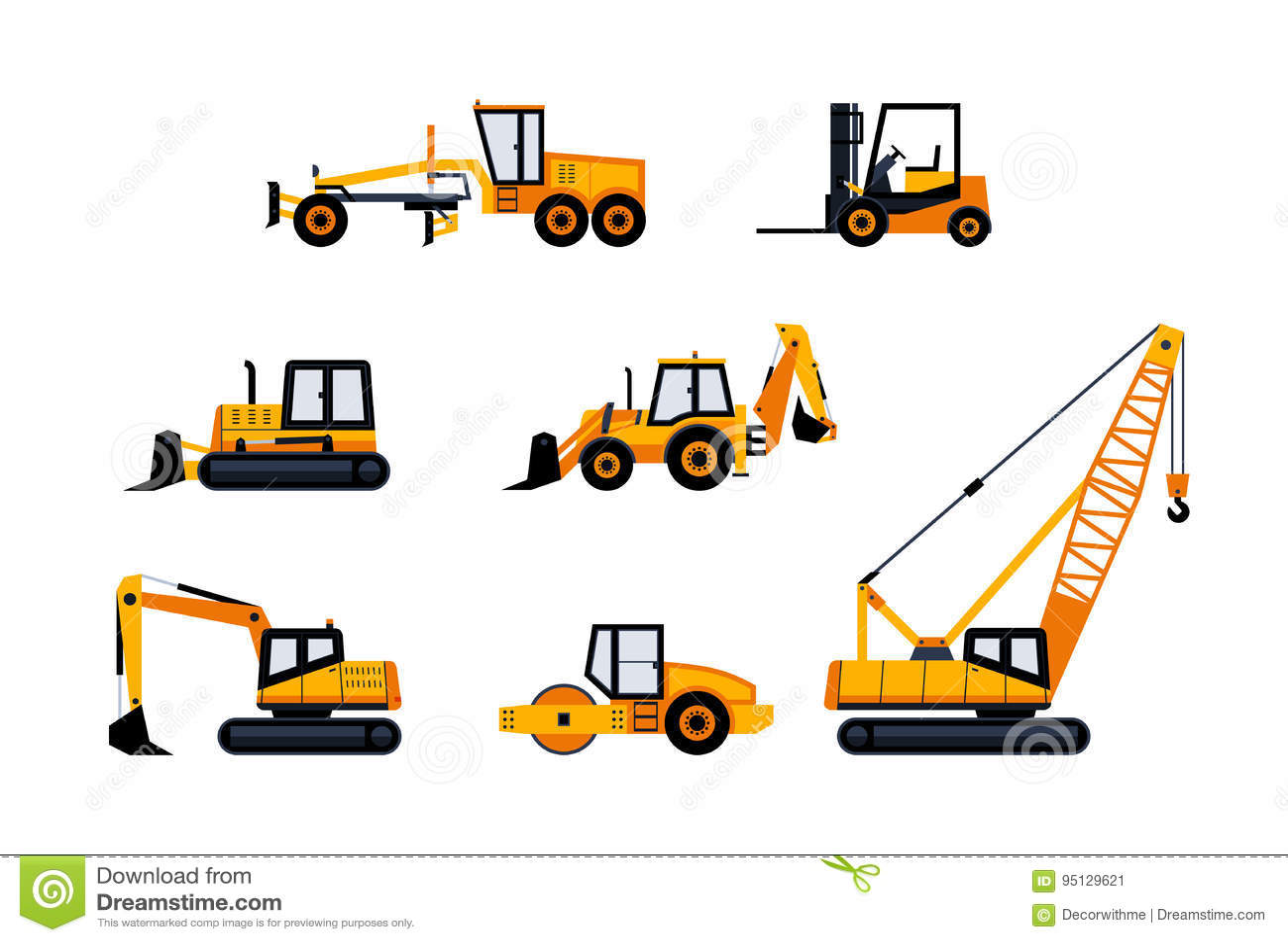 Veículos da construção - grupo moderno do ícone do vetor