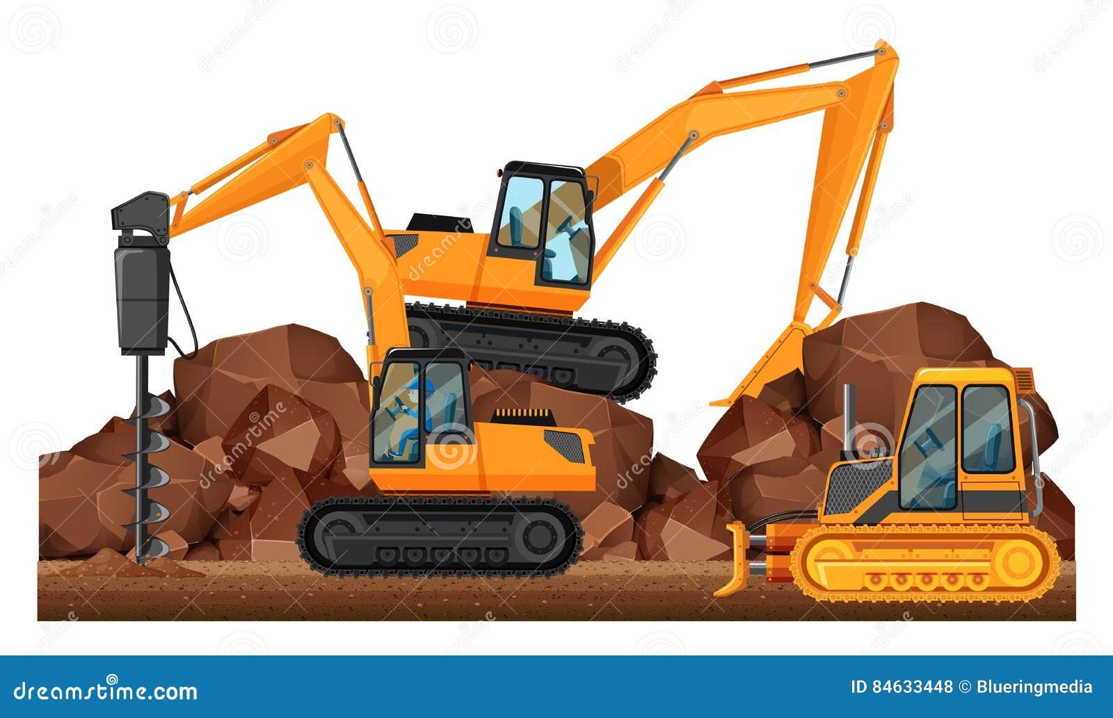 Veículos da construção que trabalham no local
