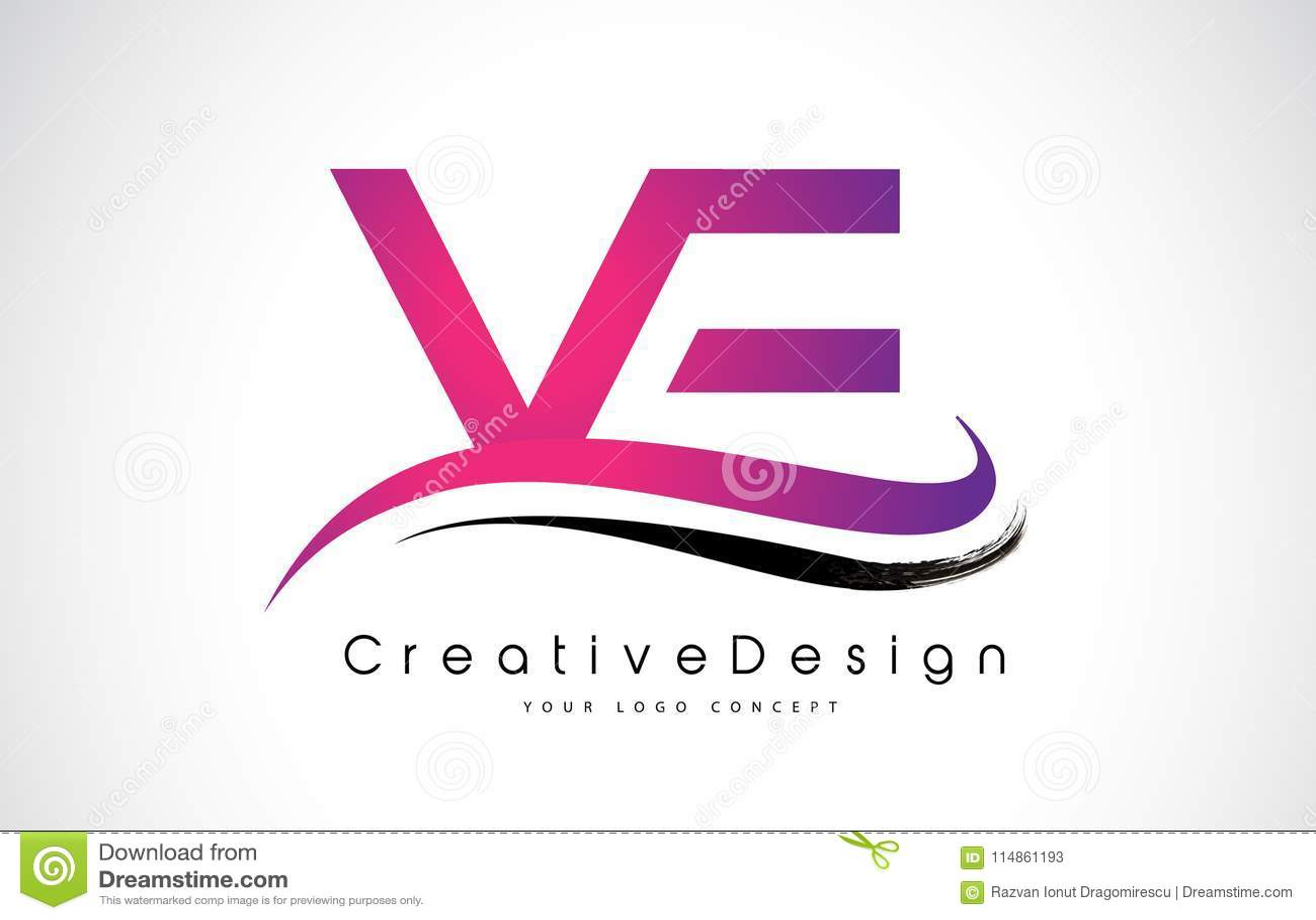 VE V E Letter Logo Design. Creative Icon Modern Letters Vector L ...