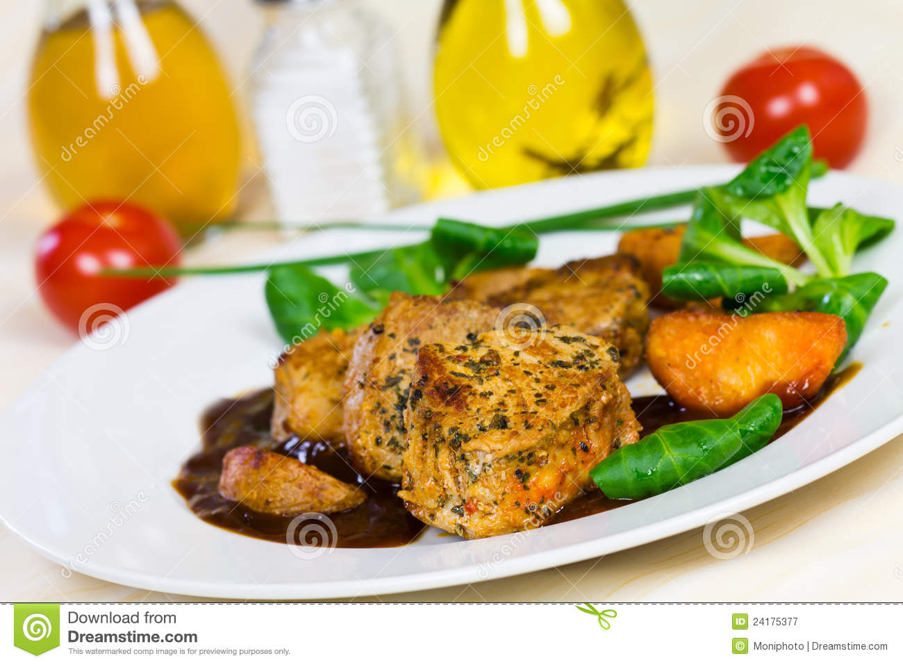 Veal Fillet- Tenderloin with Sauce and Salad