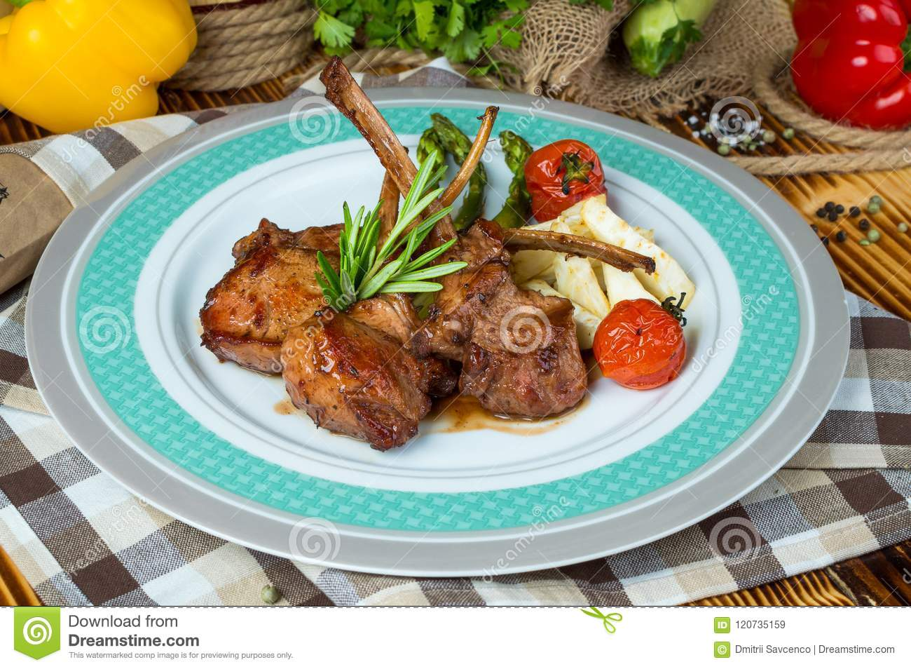 Veal ribs with Vegetables.