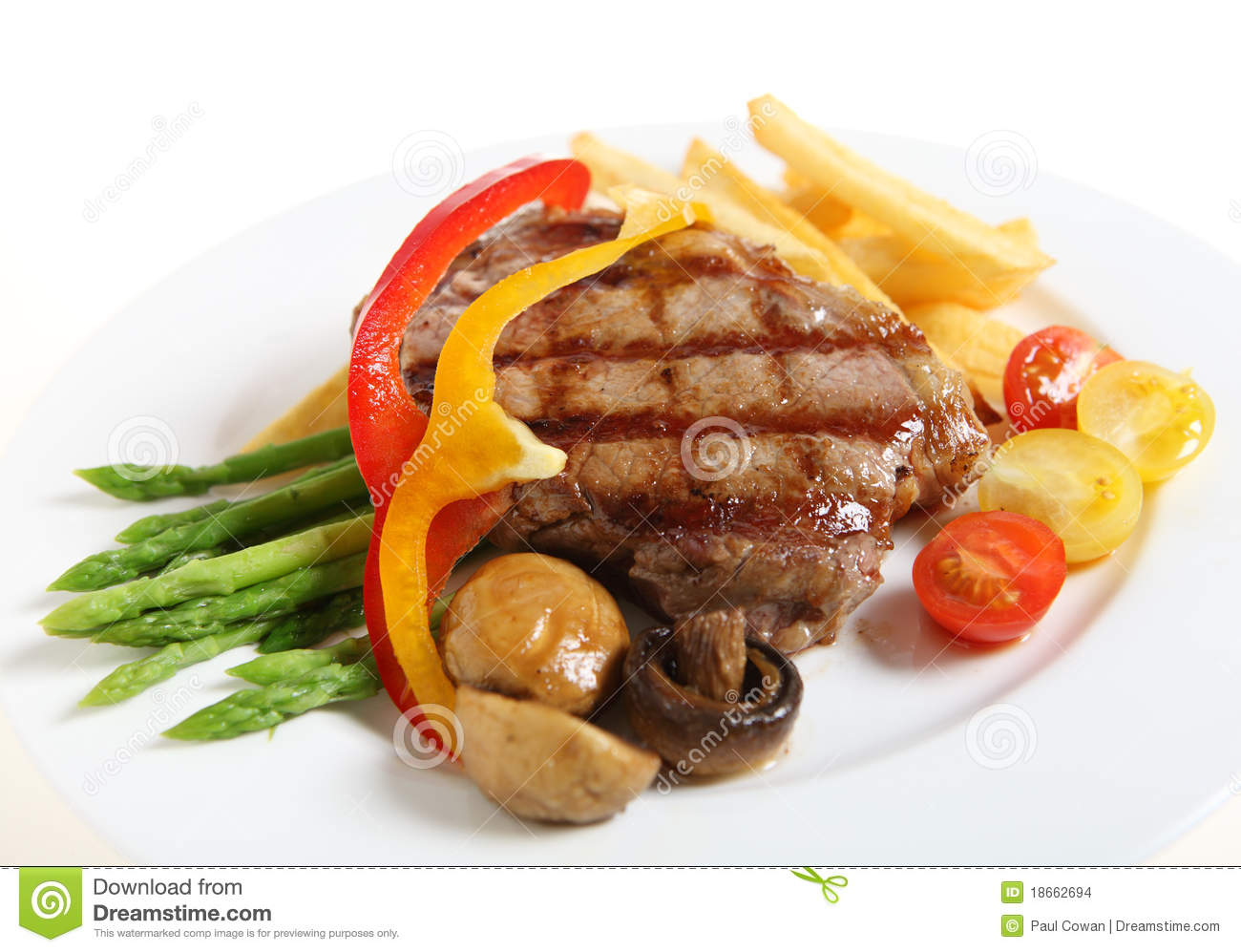 Veal sirloin steak meal horizontal