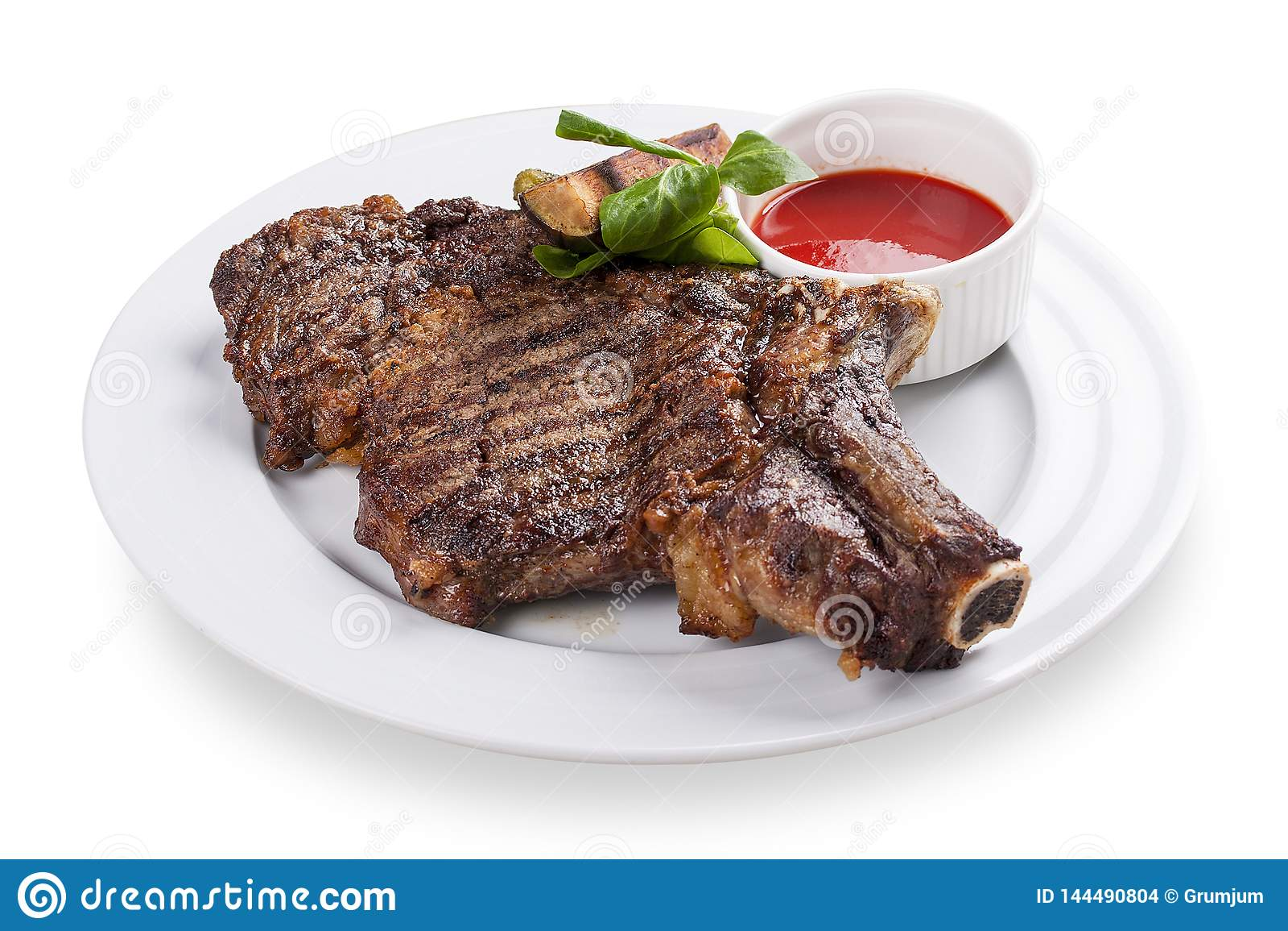 Veal steak on the bone.