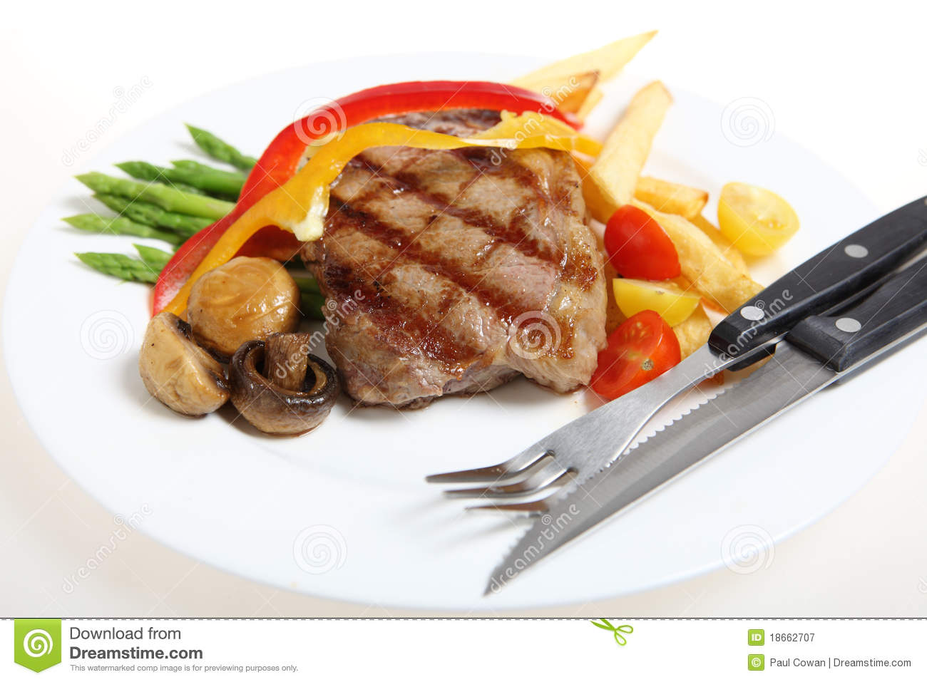 Veal steak meal with cutlery