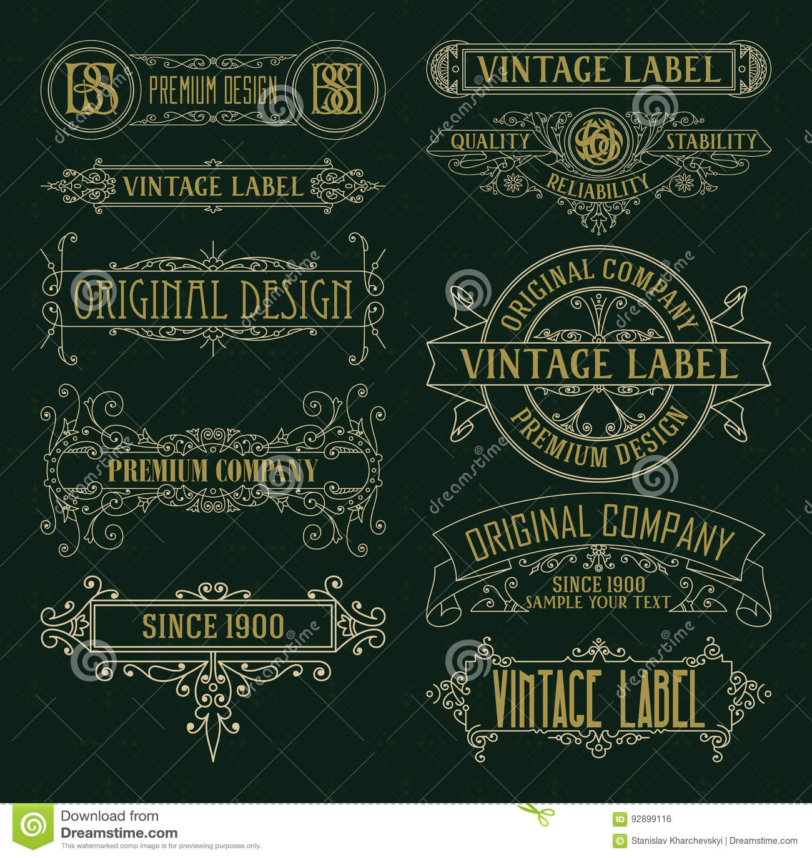 Vecchi elementi floreali d annata - nastri, monogrammi, bande, linee, angoli, confine, struttura, etichetta, logo