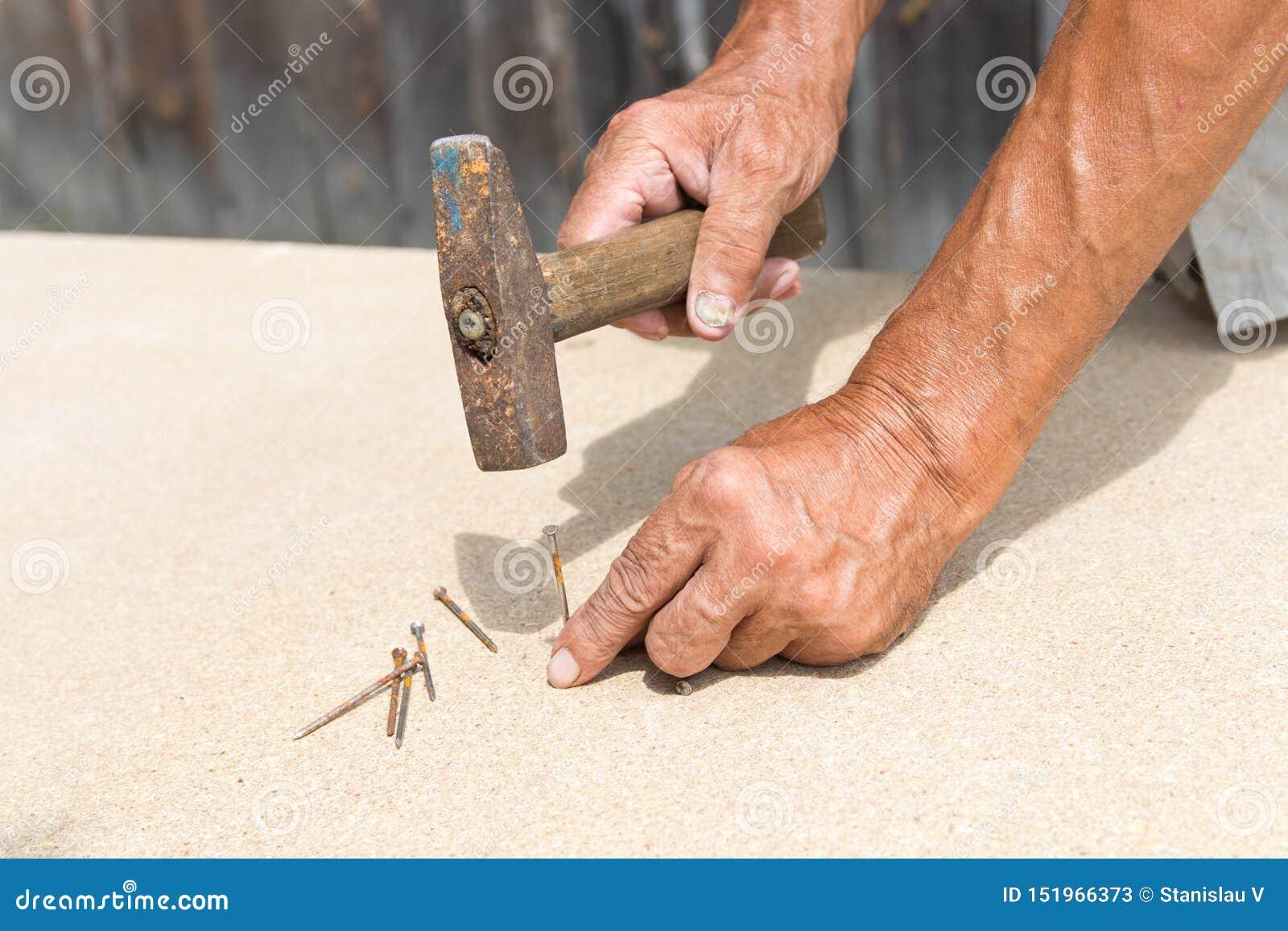 Vecchi martello e chiodo nelle mani di un uomo più anziano Il carpentiere martella un chiodo in un albero