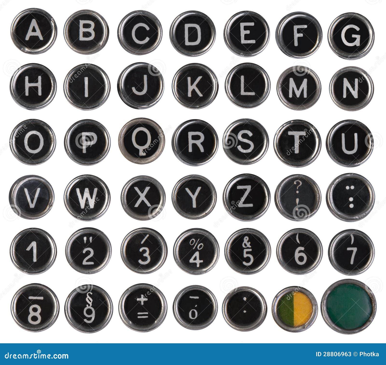 vecchi tasti alfabeto e numeri della macchina da scrivere
