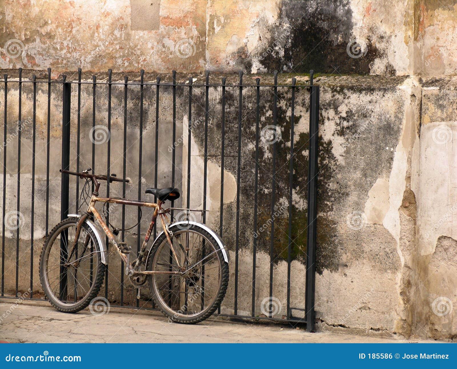 Vecchia bicicletta vicino ad una vecchia parete