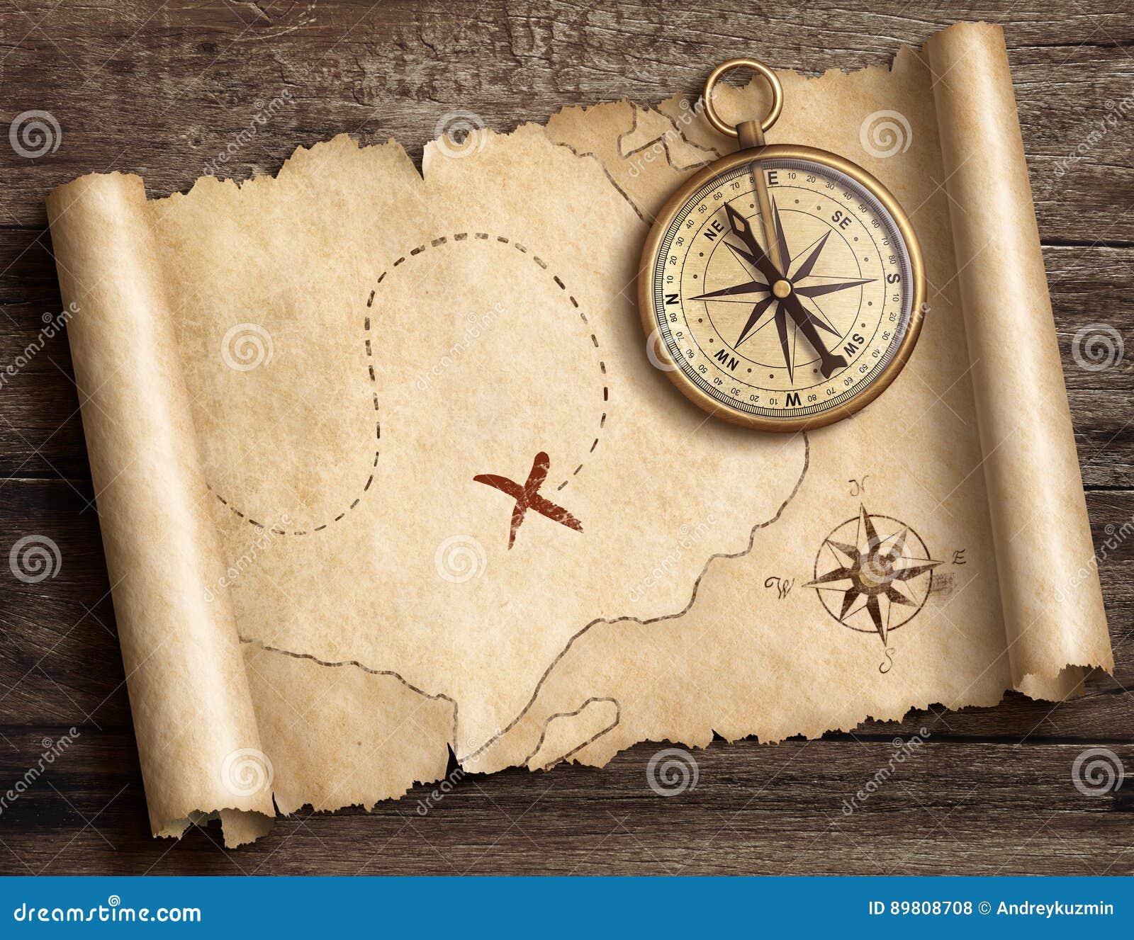 Vecchia bussola nautica d ottone sulla tavola con l illustrazione della mappa 3d del tesoro
