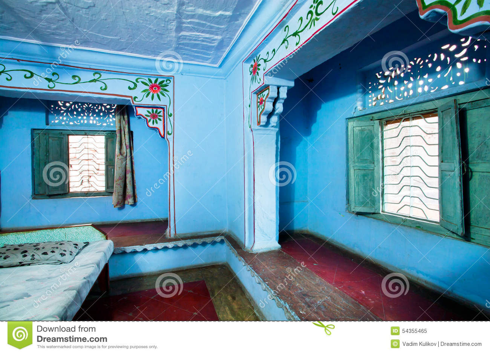 Vecchia Camera Da Letto Delle Pareti In Uno Stile Indiano Immagine ...