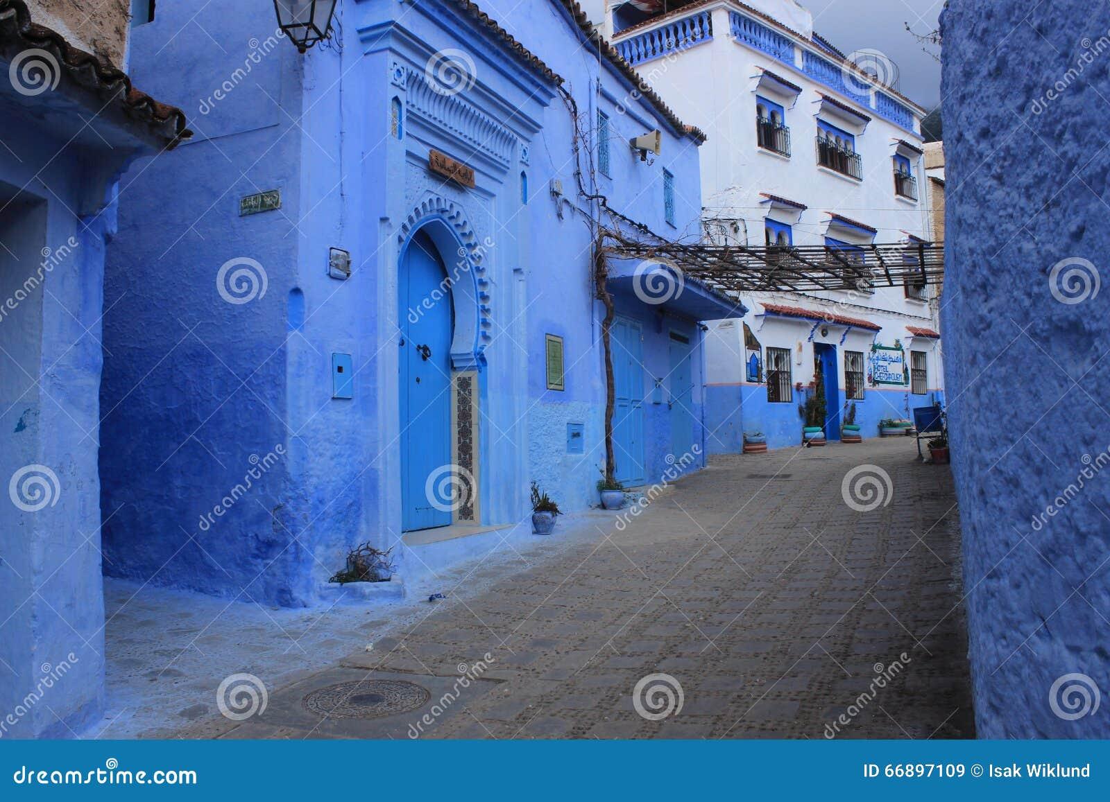Case Blu Marocco : Vecchia città chefchaouen marocco vicolo blu delle costruzioni di