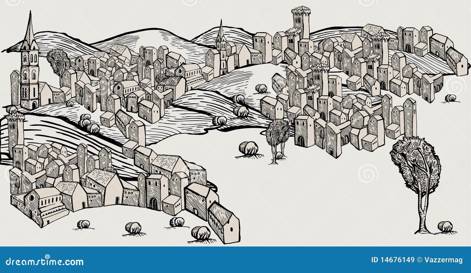 Vecchia citt disegnata a mano immagini stock libere da for Architettura disegnata