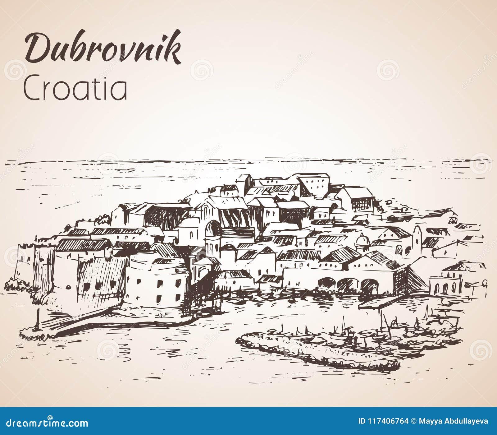 Vecchia città Ragusa, Croazia abbozzo