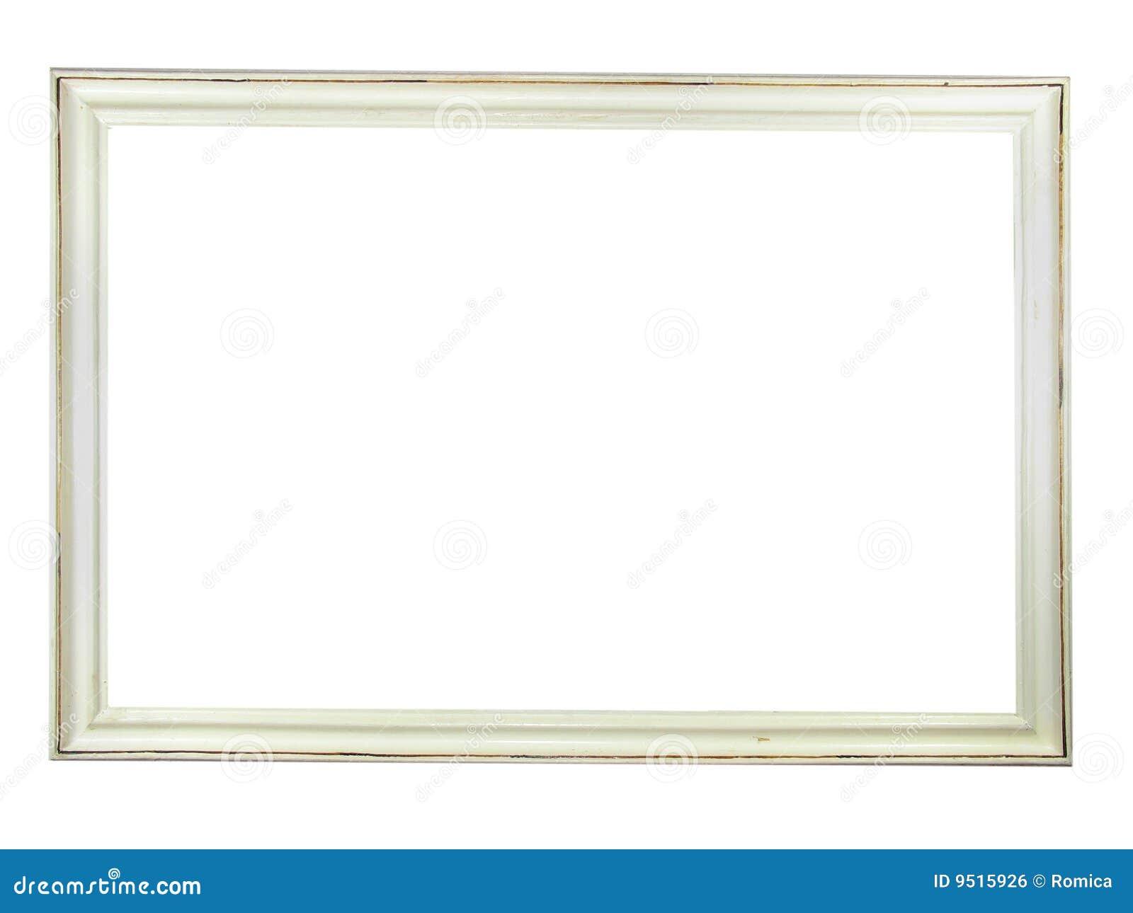 vecchia cornice di legno bianca antica immagine stock