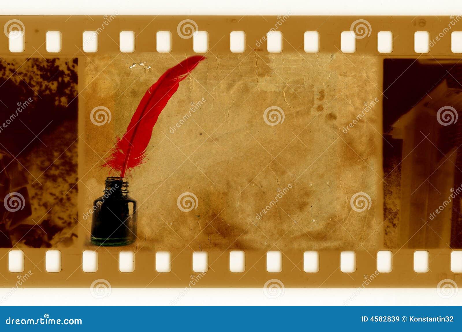 Vecchia foto del blocco per grafici di 35mm con la piuma dell annata