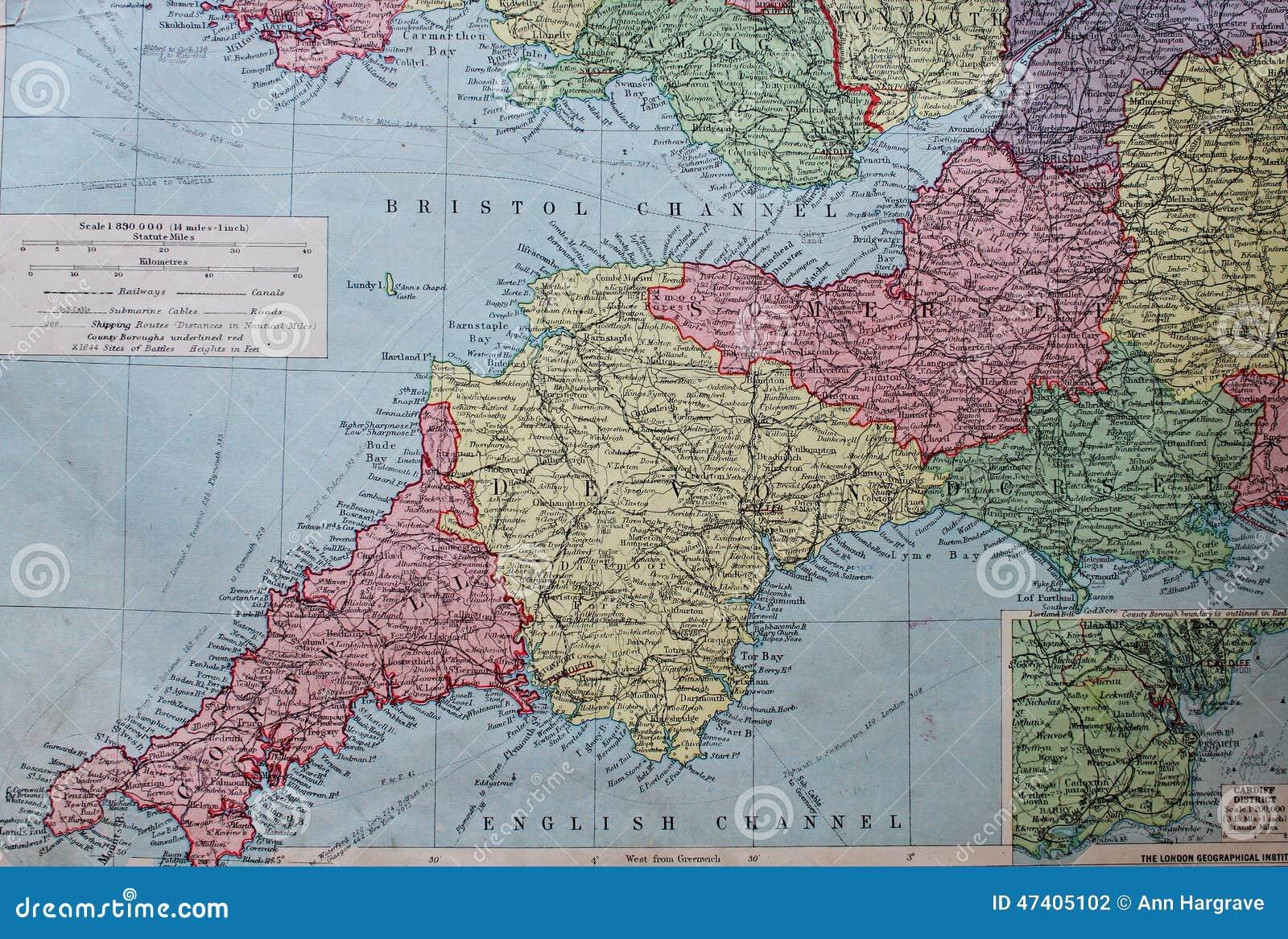 Vecchia mappa 1945 del sud ad ovest dell 39 inghilterra for Nuova architettura in inghilterra