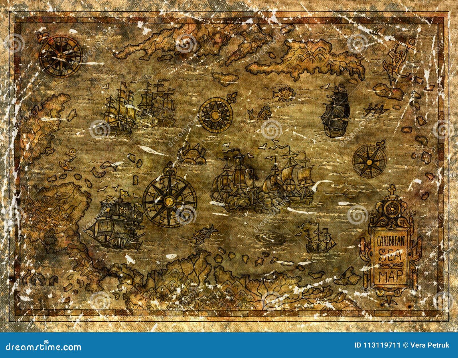 Vecchia mappa di mar dei Caraibi con le barche a vela e le bussole del pirata