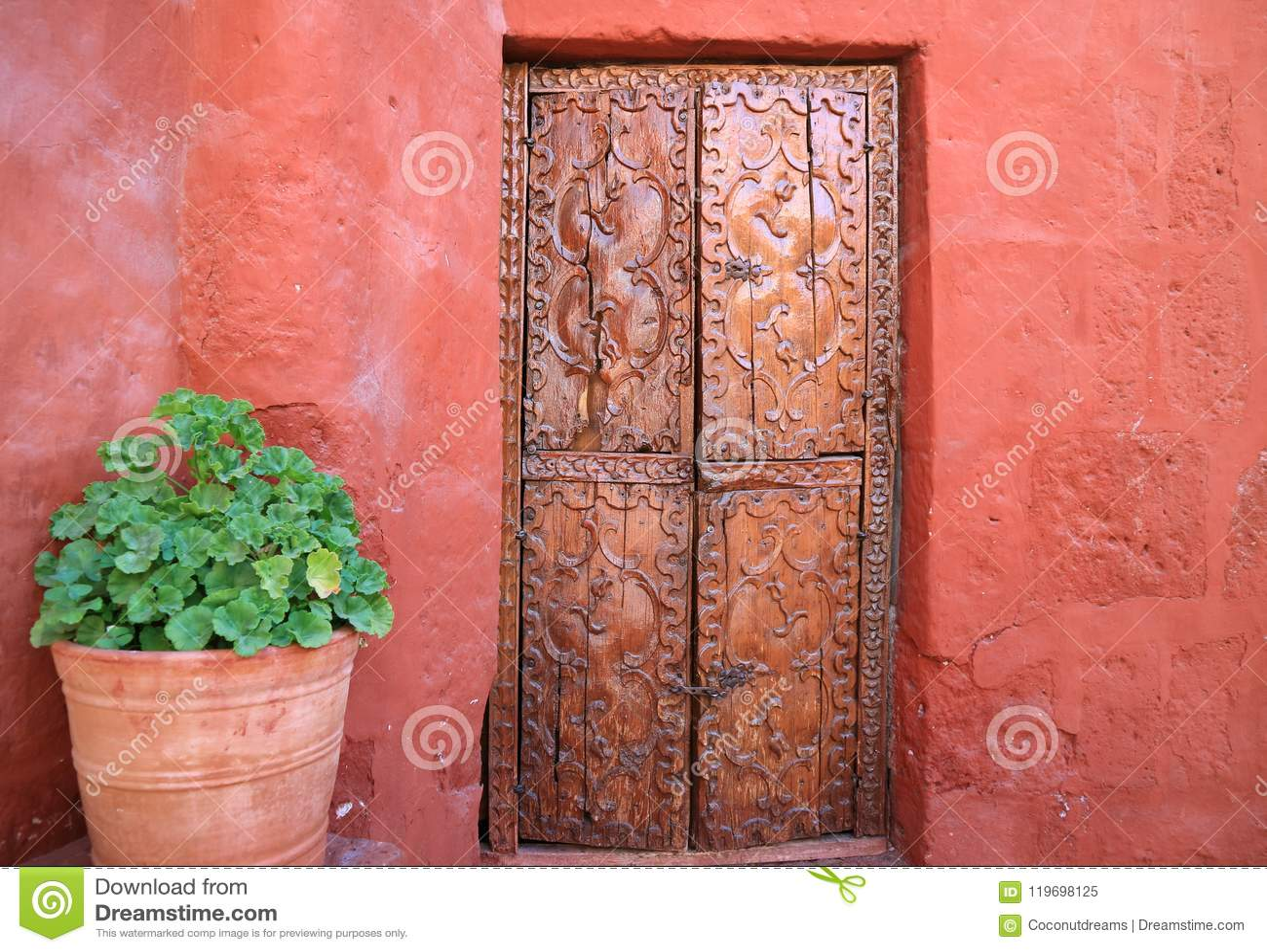 Vecchia porta di legno scolpita sulla parete ruvida arancio di colore rosso con piantatrici le grandi di una terracotta in Santa