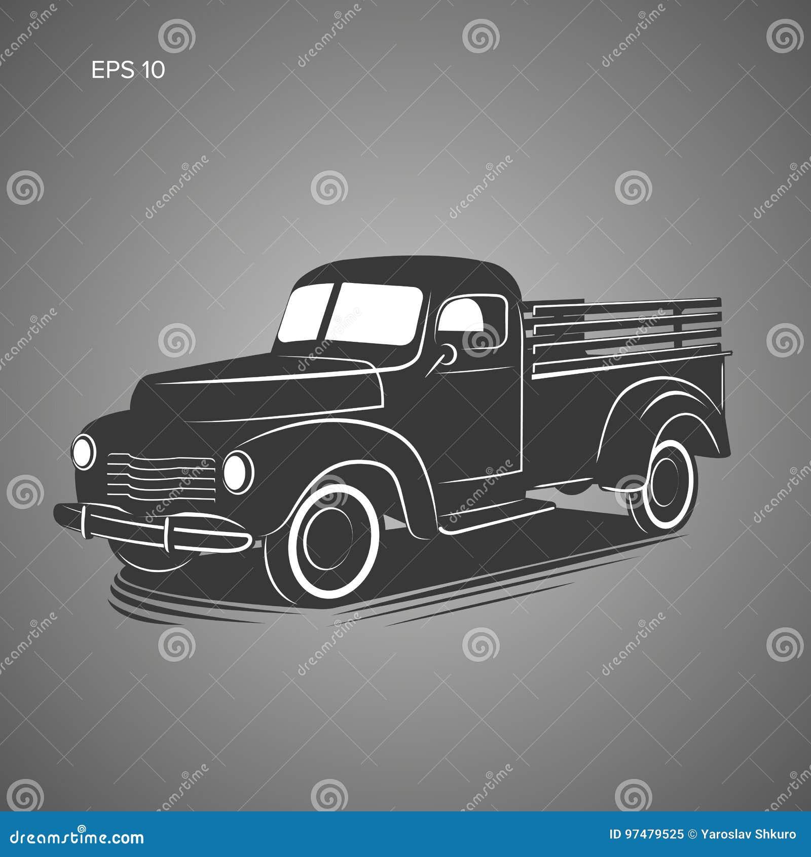 Vecchia retro icona dell illustrazione di vettore del camioncino Veicolo di trasporto d annata