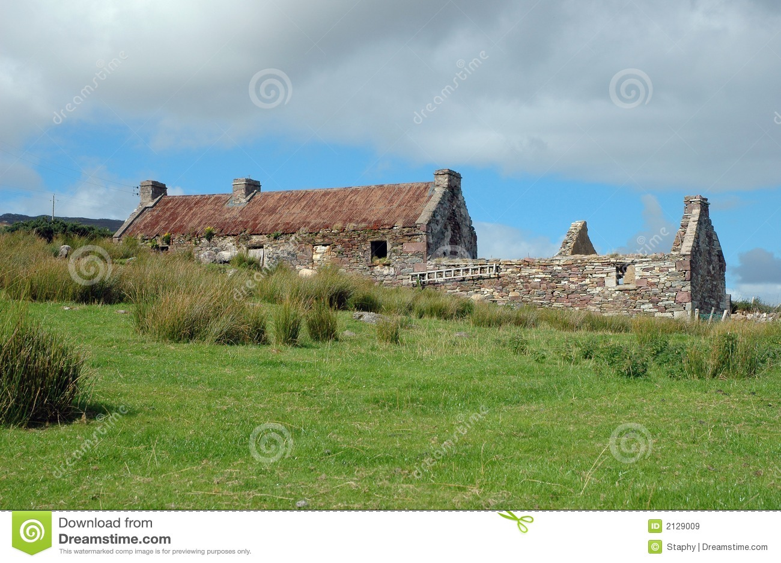 Vecchia rovina irlandese del cottage