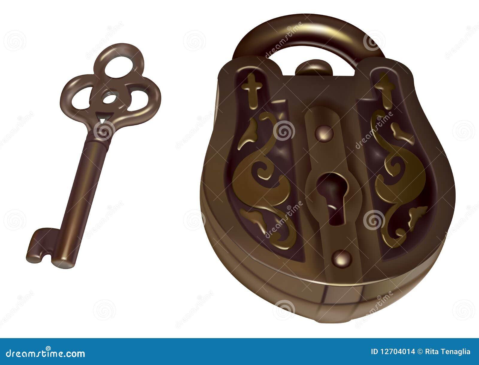 Vecchia serratura e tasto